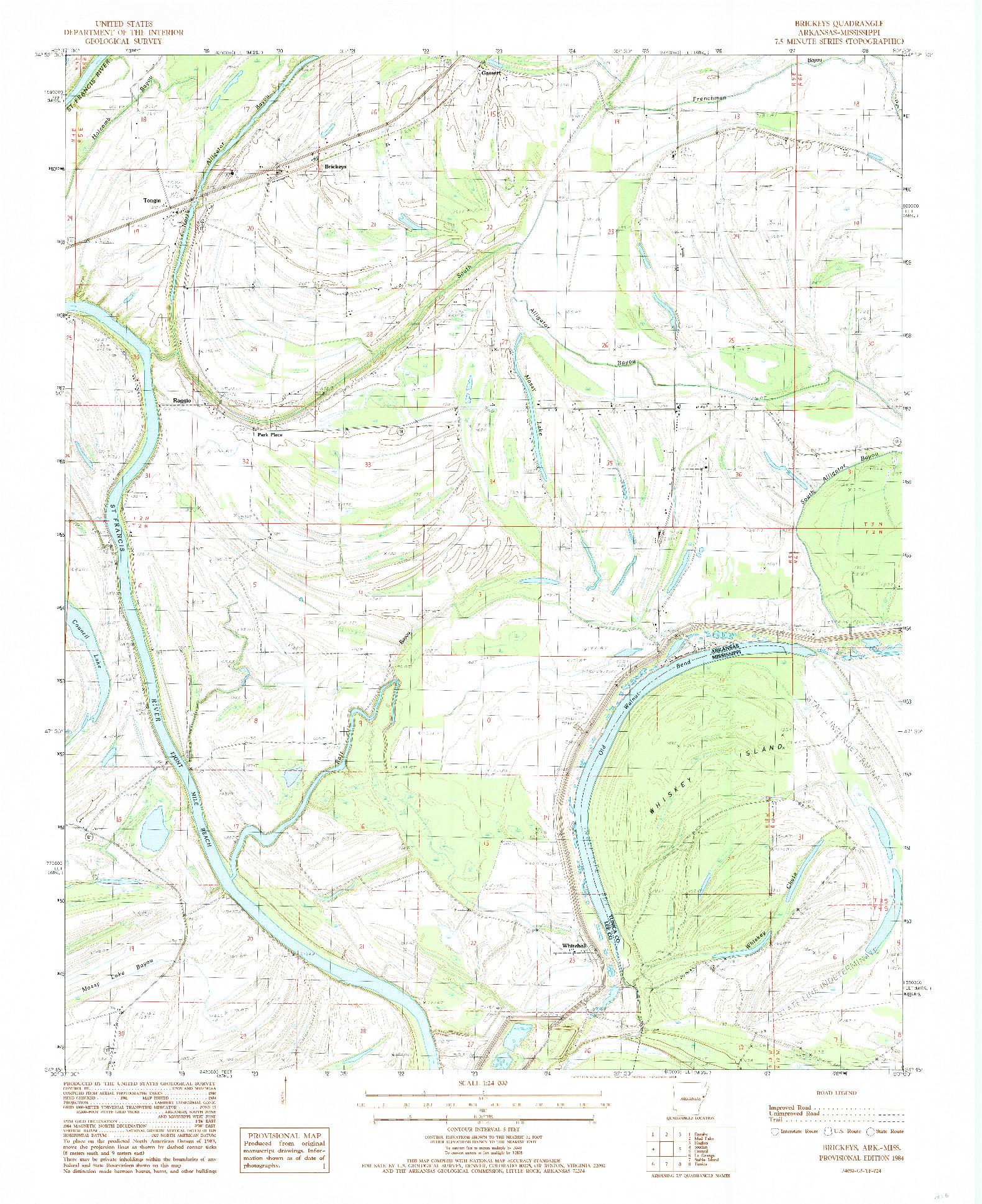 USGS 1:24000-SCALE QUADRANGLE FOR BRICKEYS, AR 1984
