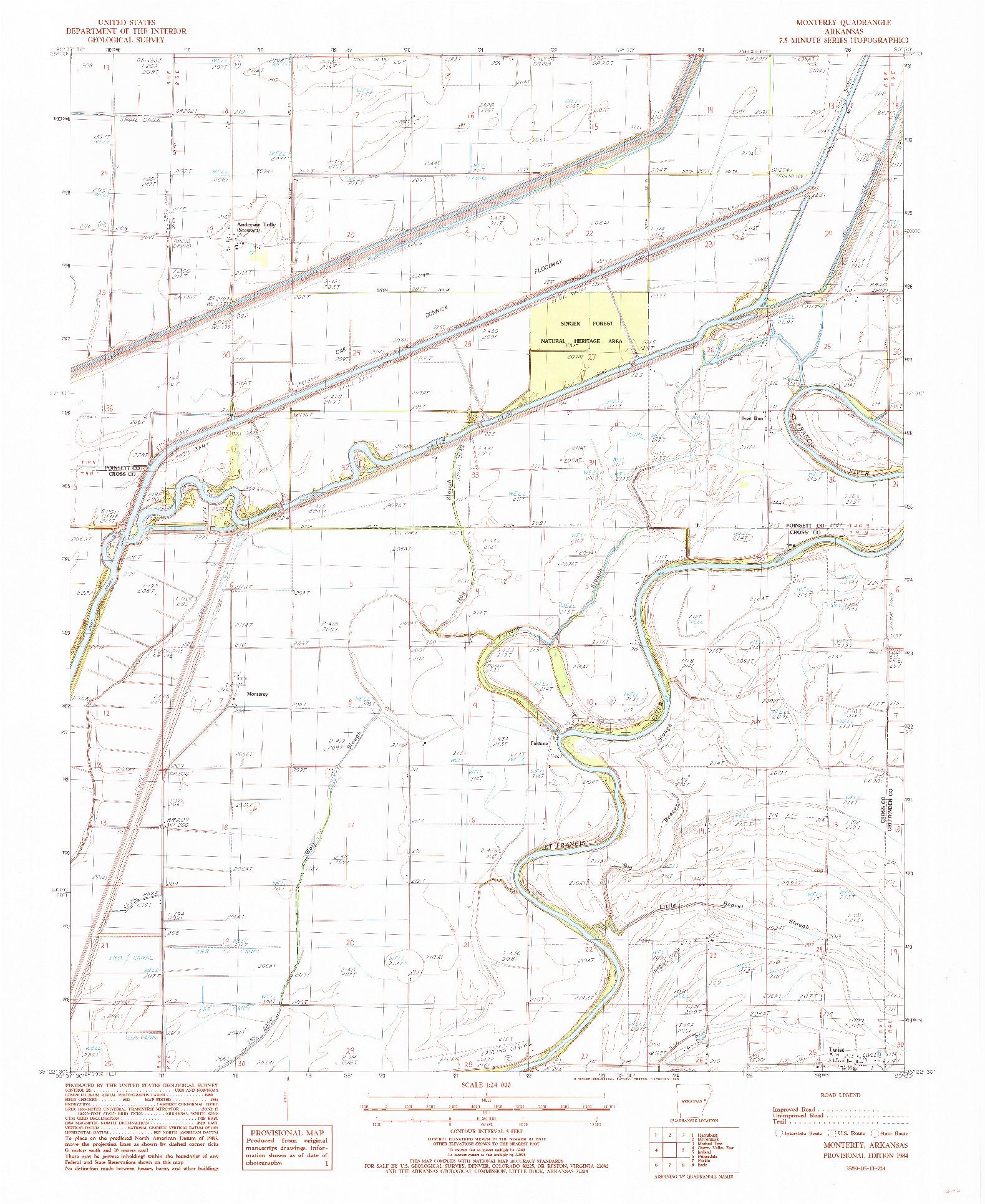 USGS 1:24000-SCALE QUADRANGLE FOR MONTEREY, AR 1984