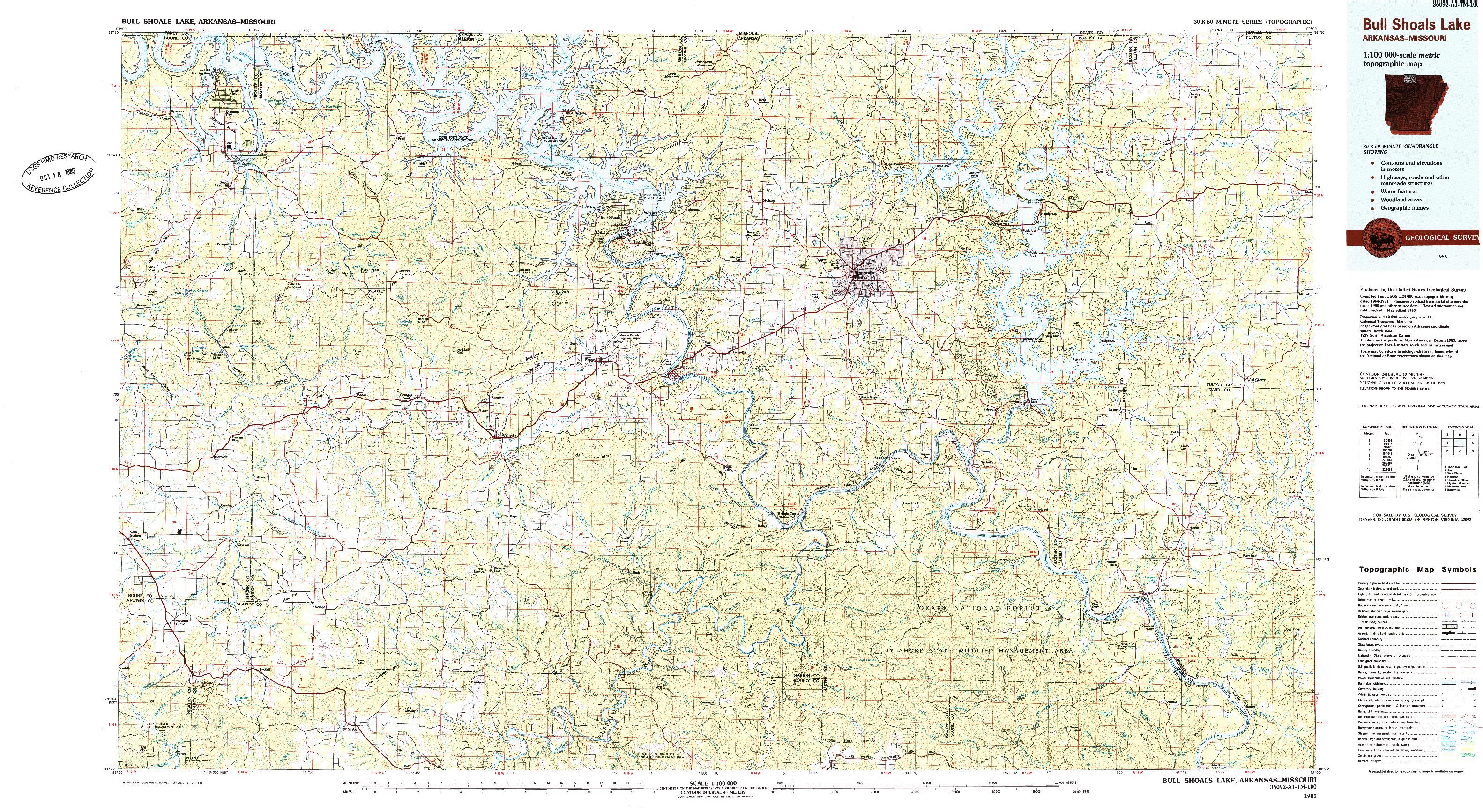 USGS 1:100000-SCALE QUADRANGLE FOR BULL SHOALS LAKE, AR 1985