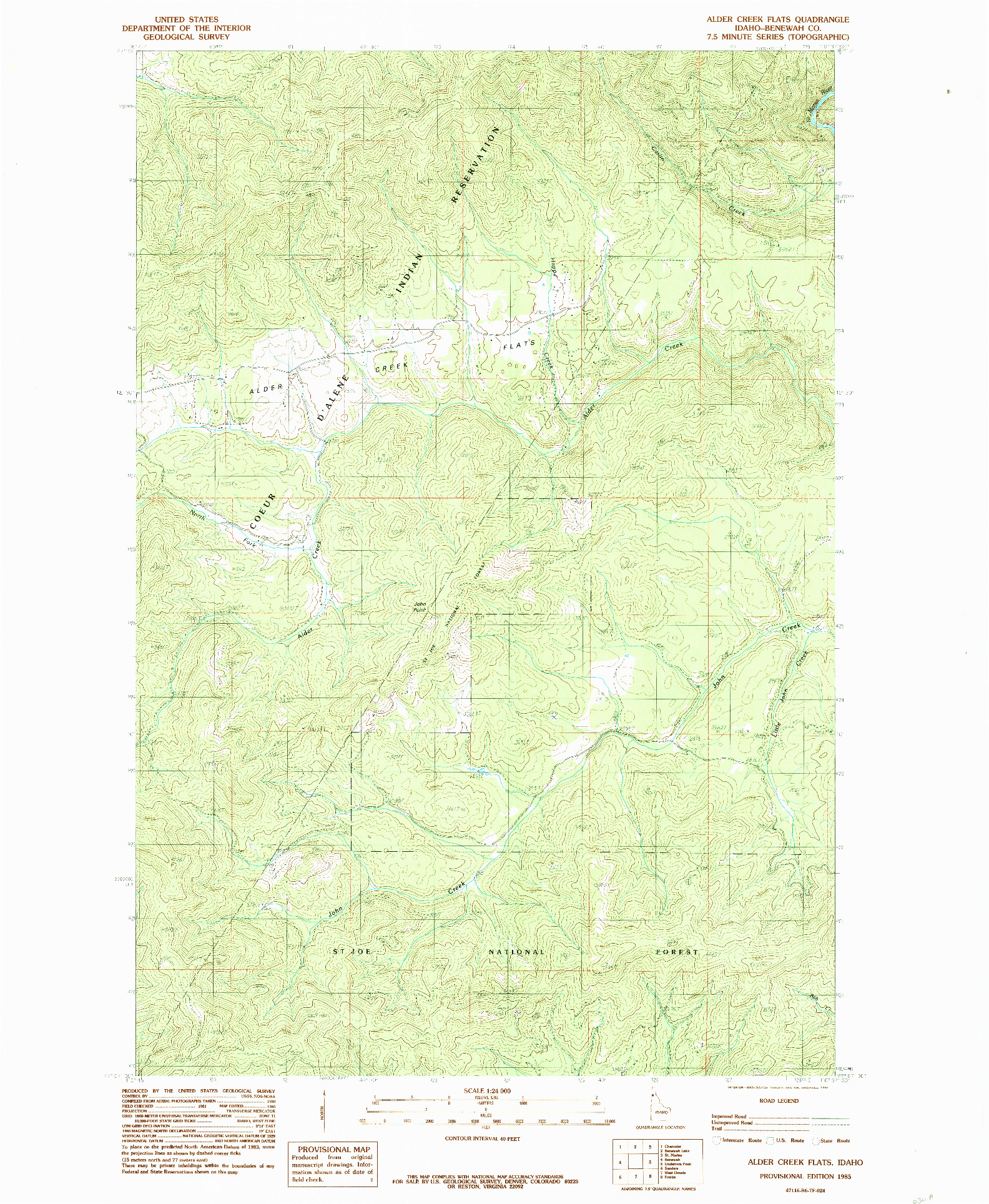 USGS 1:24000-SCALE QUADRANGLE FOR ALDER CREEK FLATS, ID 1985