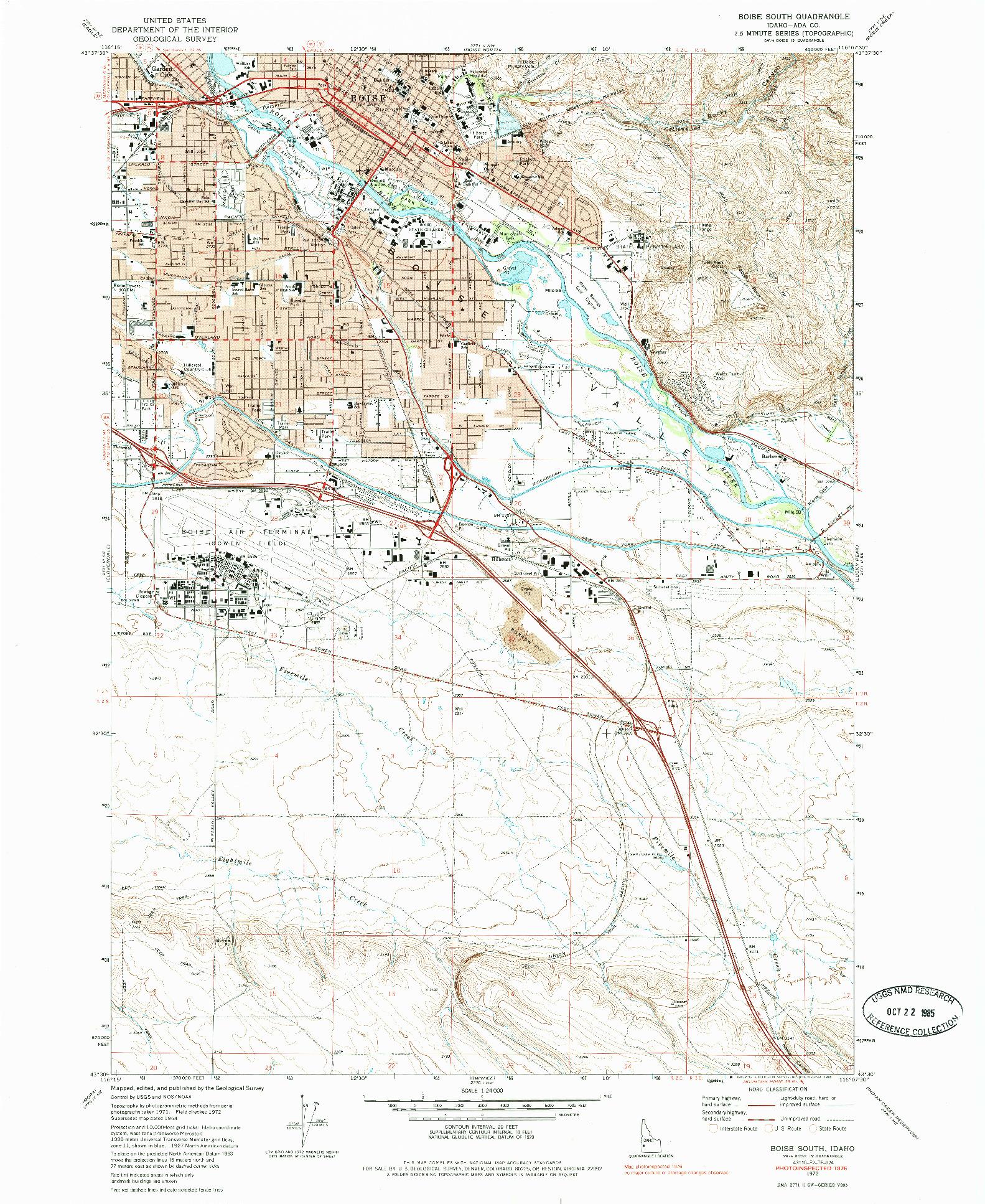 USGS 1:24000-SCALE QUADRANGLE FOR BOISE SOUTH, ID 1972