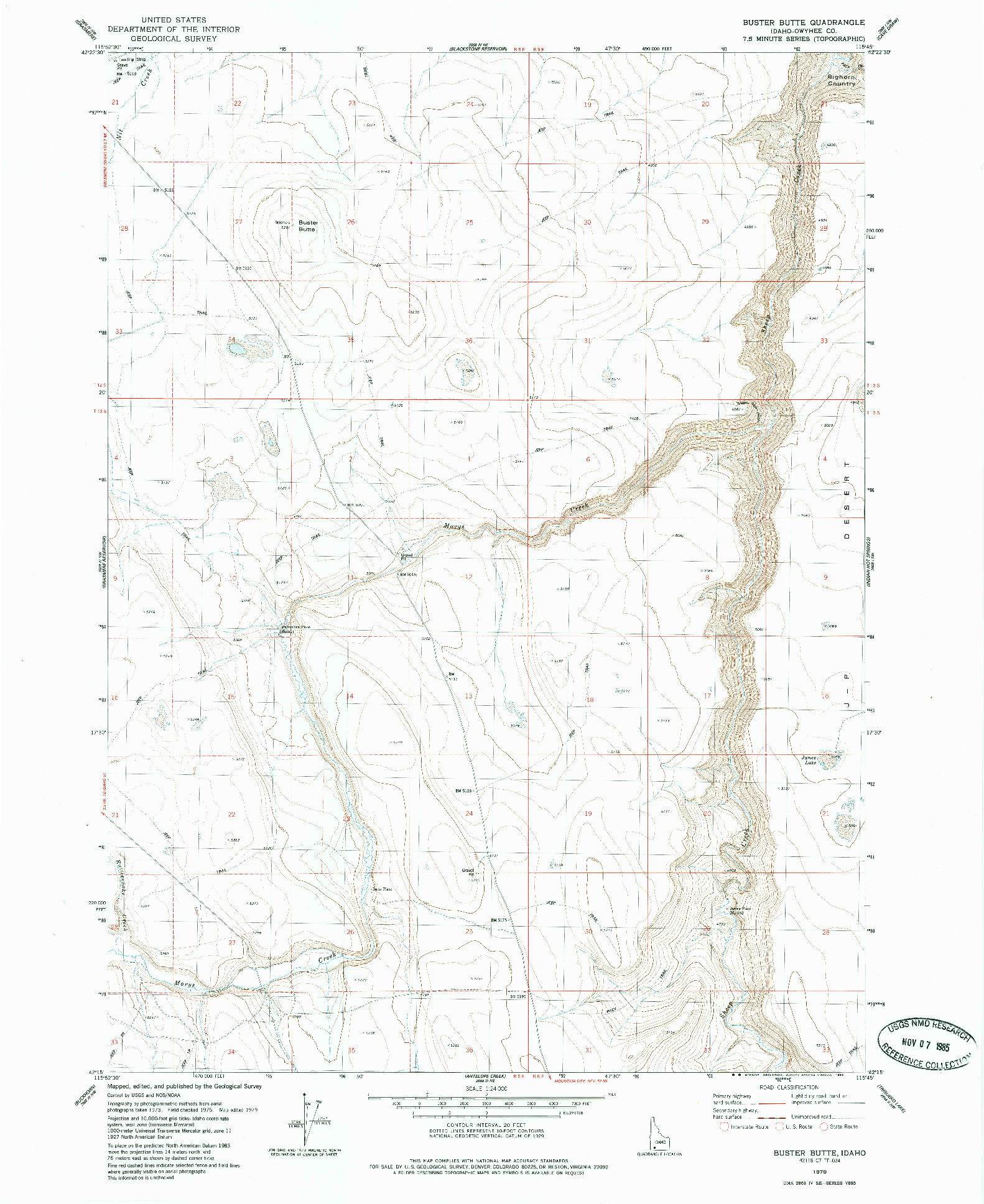 USGS 1:24000-SCALE QUADRANGLE FOR BUSTER BUTTE, ID 1979
