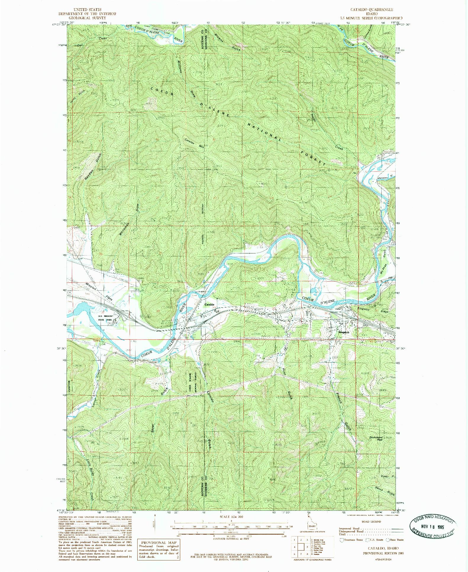 USGS 1:24000-SCALE QUADRANGLE FOR CATALDO, ID 1985