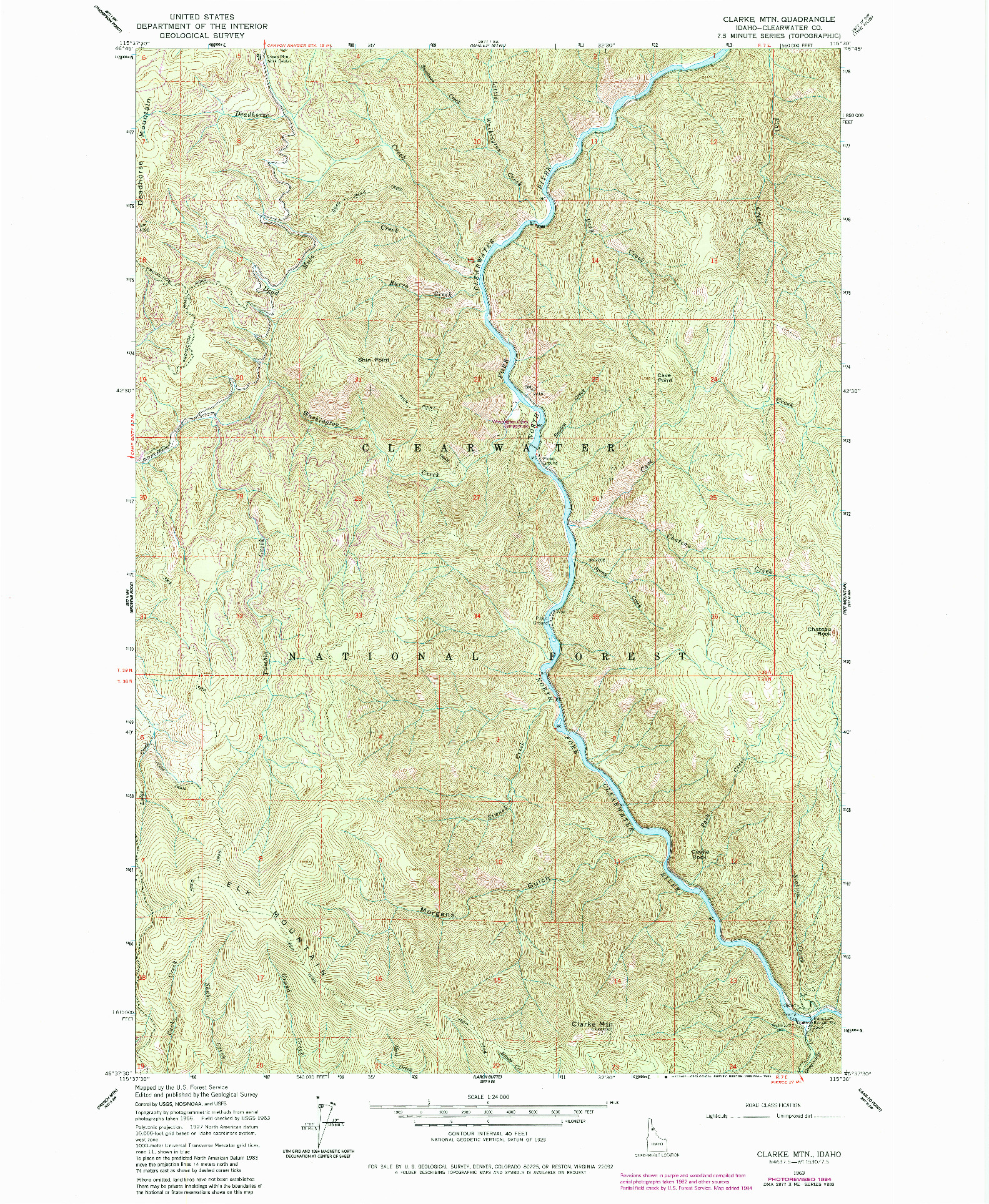 USGS 1:24000-SCALE QUADRANGLE FOR CLARKE MTN, ID 1963