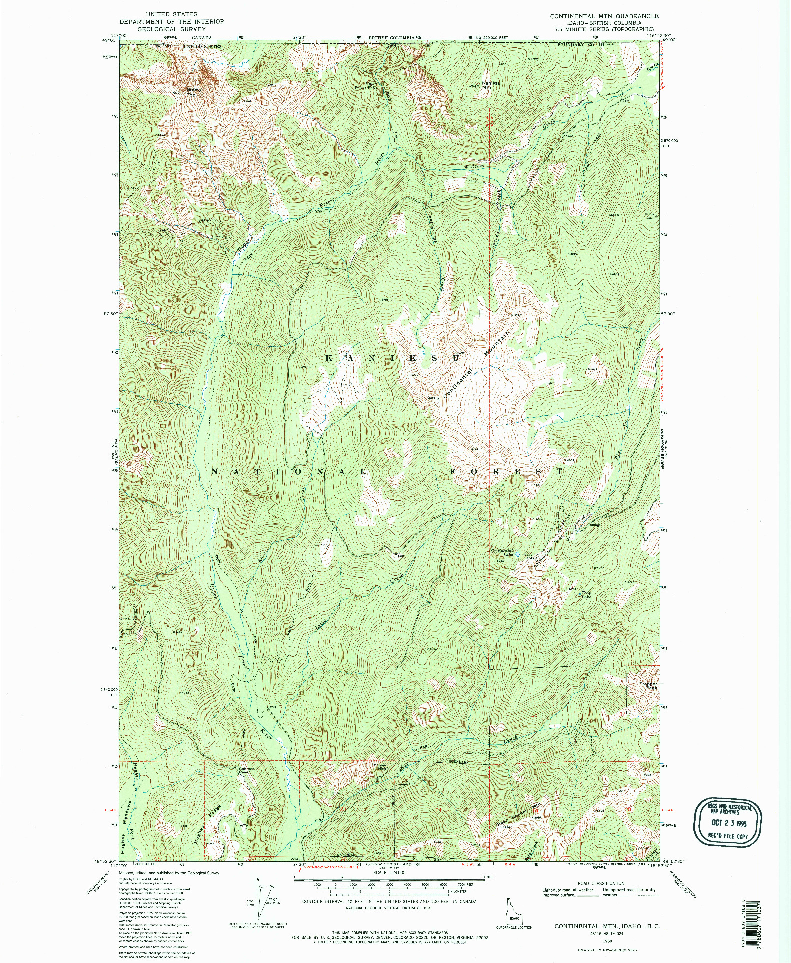 USGS 1:24000-SCALE QUADRANGLE FOR CONTINENTAL MTN, ID 1968