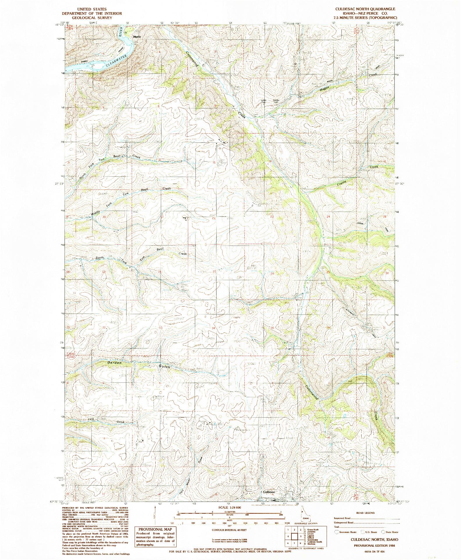 USGS 1:24000-SCALE QUADRANGLE FOR CULDESAC NORTH, ID 1984