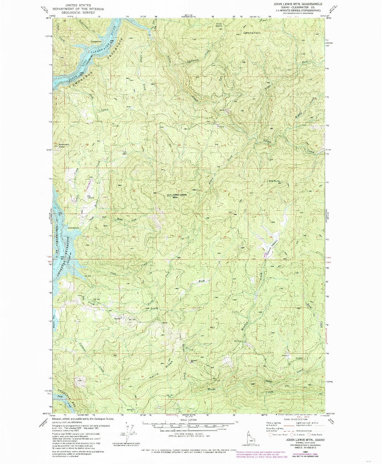 USGS 1:24000-SCALE QUADRANGLE FOR JOHN LEWIS MOUNTAIN, ID 1981