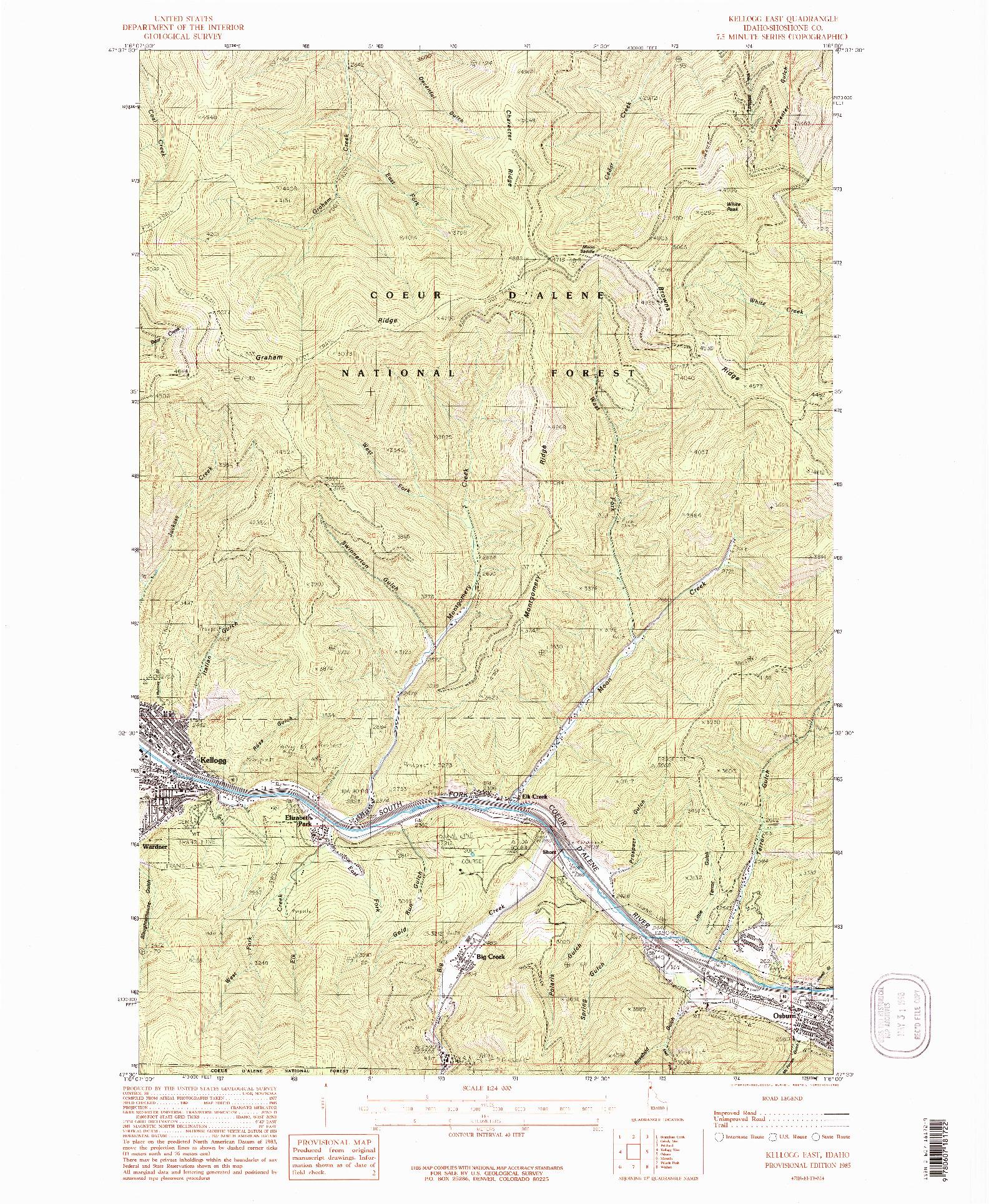 USGS 1:24000-SCALE QUADRANGLE FOR KELLOGG EAST, ID 1985