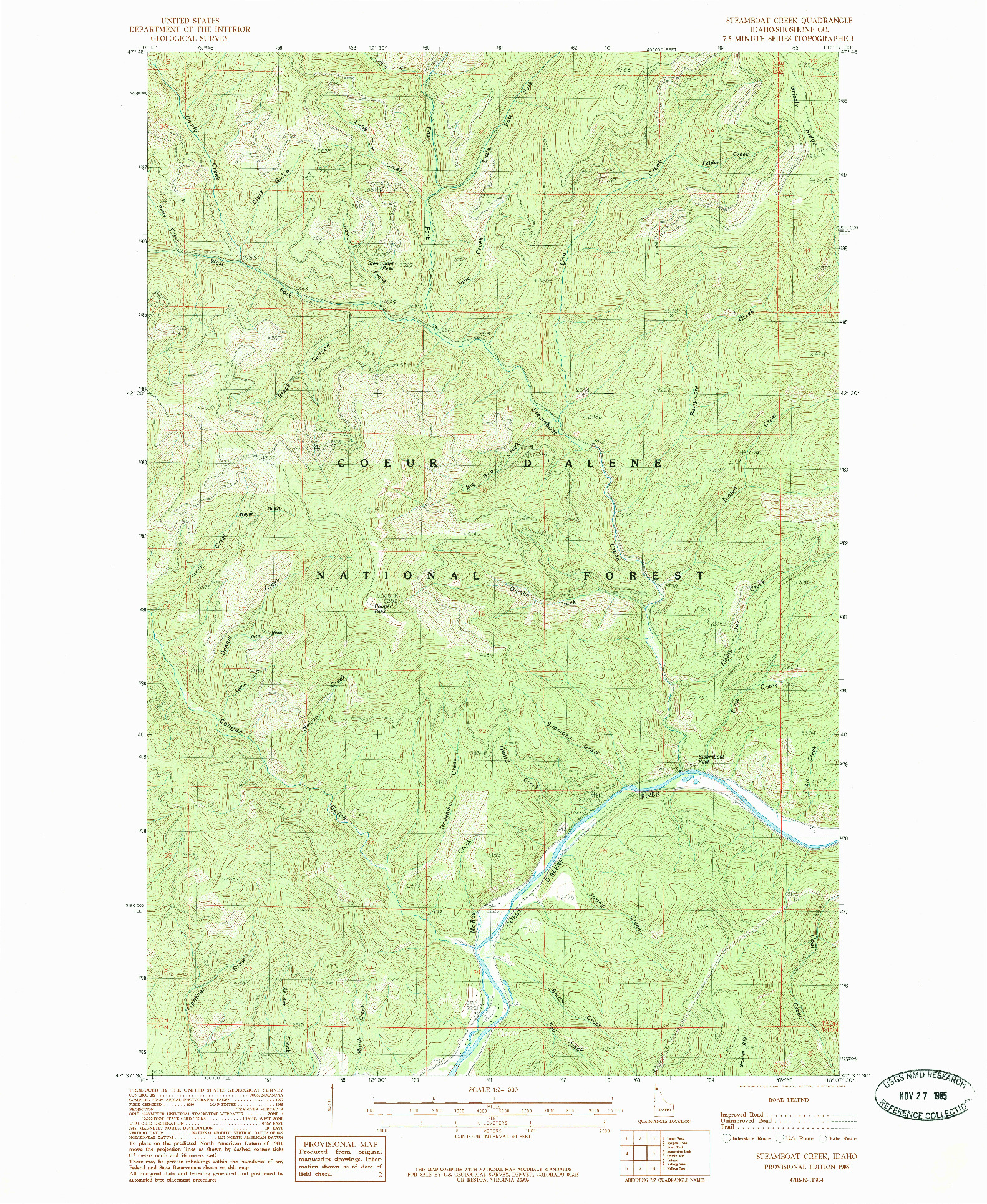 USGS 1:24000-SCALE QUADRANGLE FOR STEAMBOAT CREEK, ID 1985
