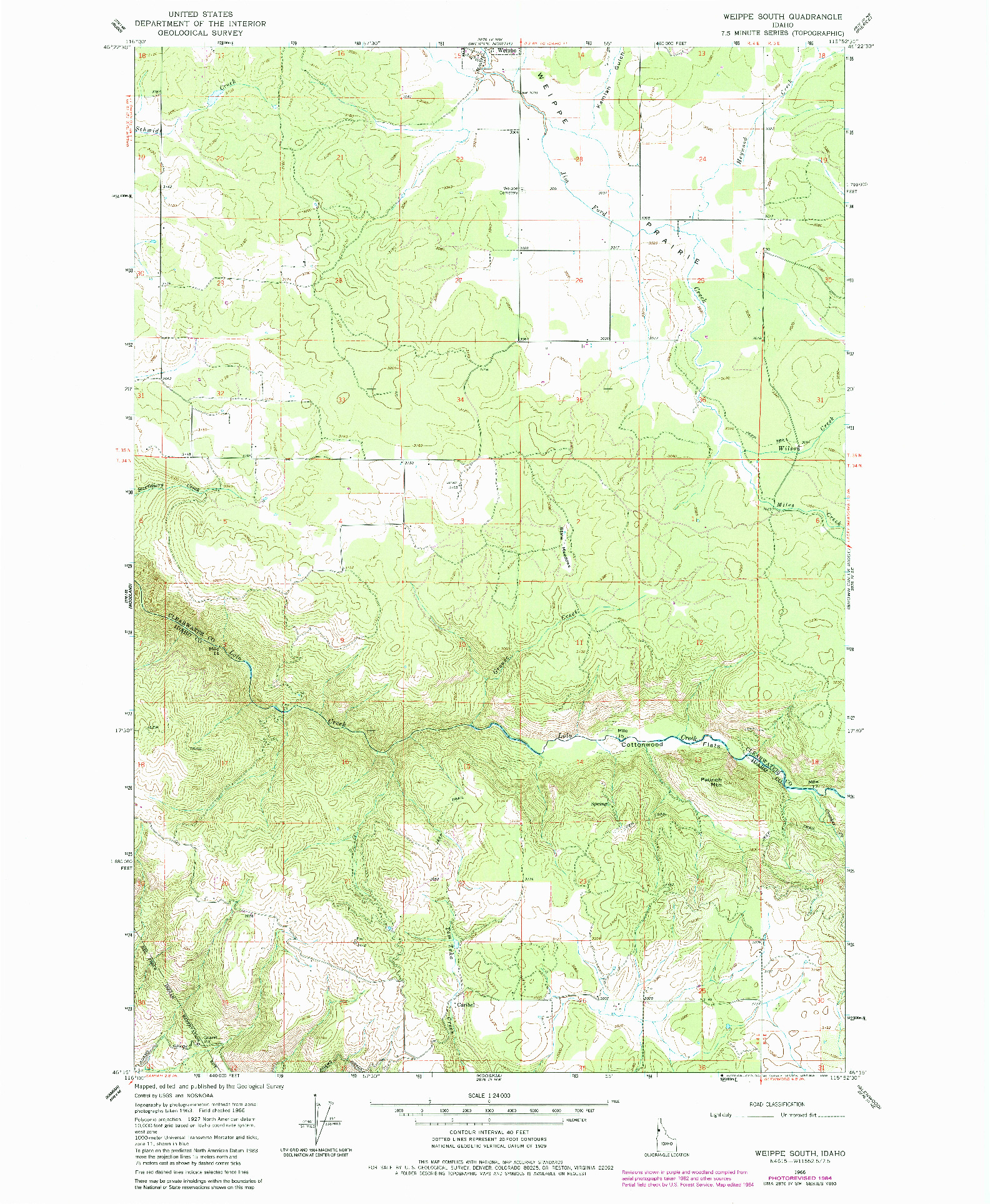 USGS 1:24000-SCALE QUADRANGLE FOR WEIPPE SOUTH, ID 1966