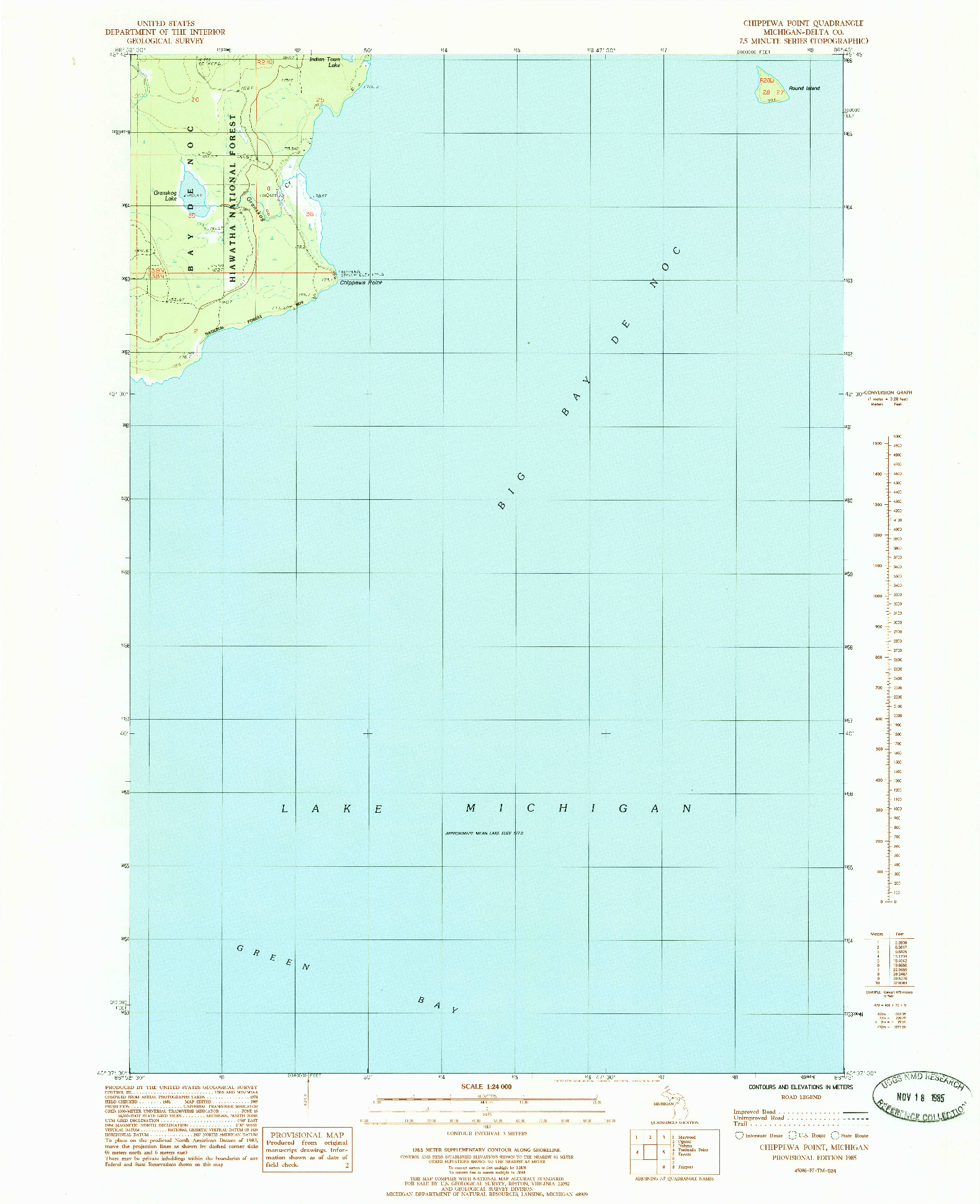 USGS 1:24000-SCALE QUADRANGLE FOR CHIPPEWA POINT, MI 1985