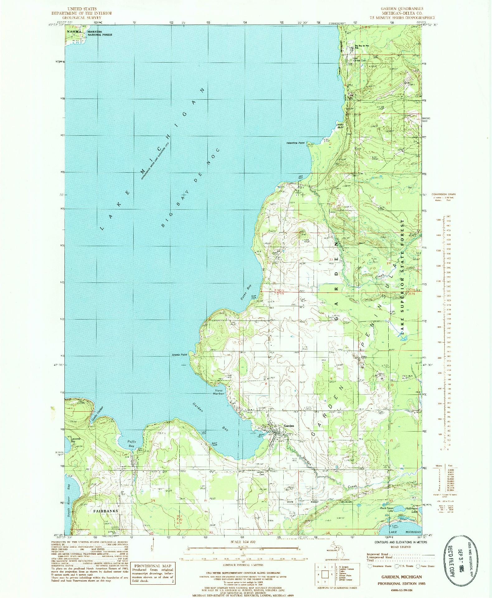 USGS 1:24000-SCALE QUADRANGLE FOR GARDEN, MI 1985