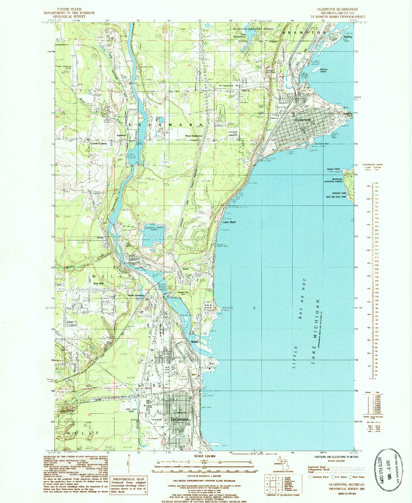 USGS 1:24000-SCALE QUADRANGLE FOR GLADSTONE, MI 1985
