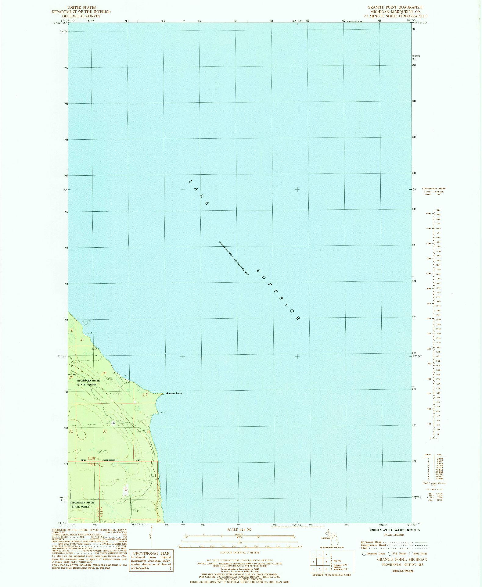 USGS 1:24000-SCALE QUADRANGLE FOR GRANITE POINT, MI 1985