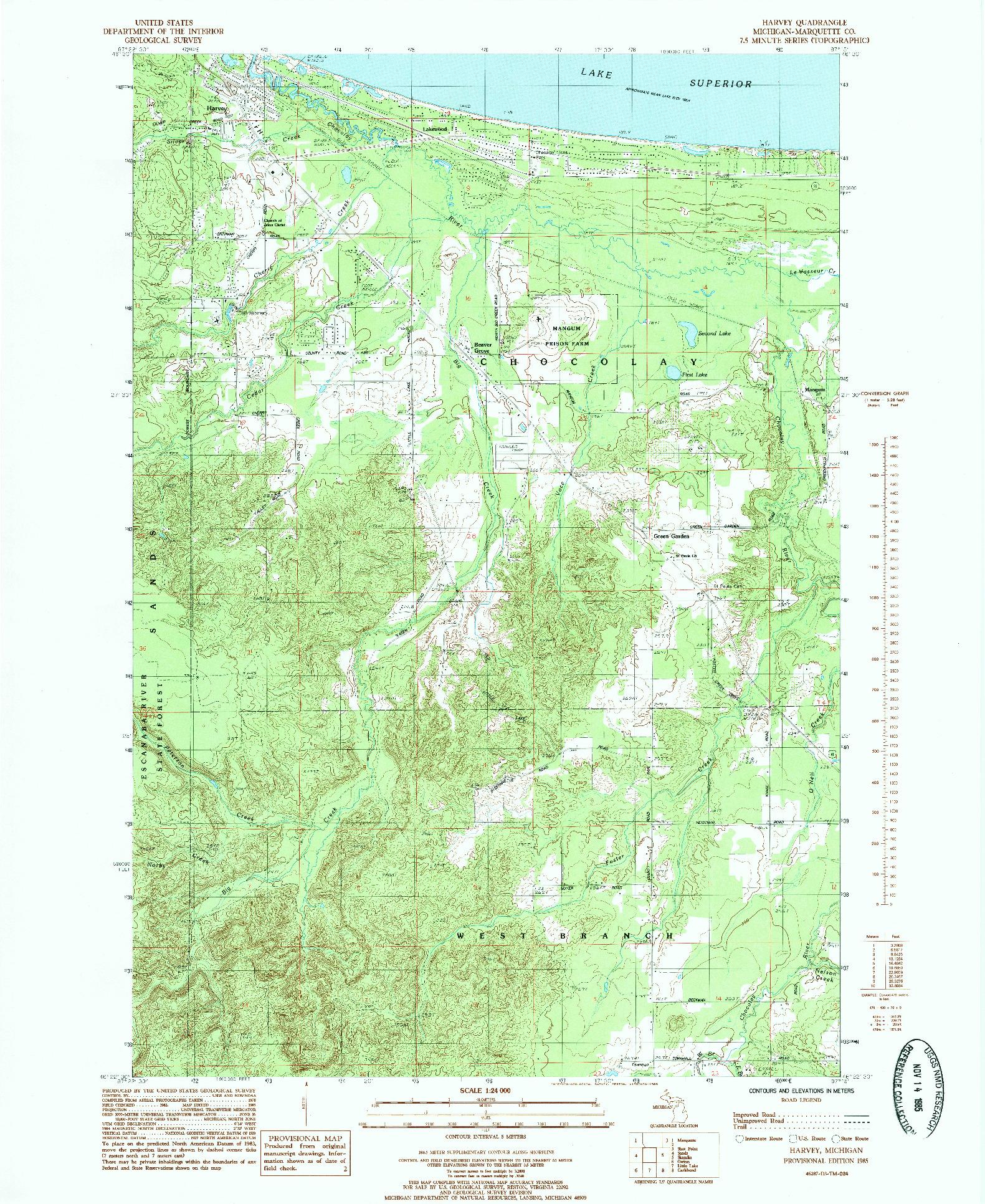 USGS 1:24000-SCALE QUADRANGLE FOR HARVEY, MI 1985