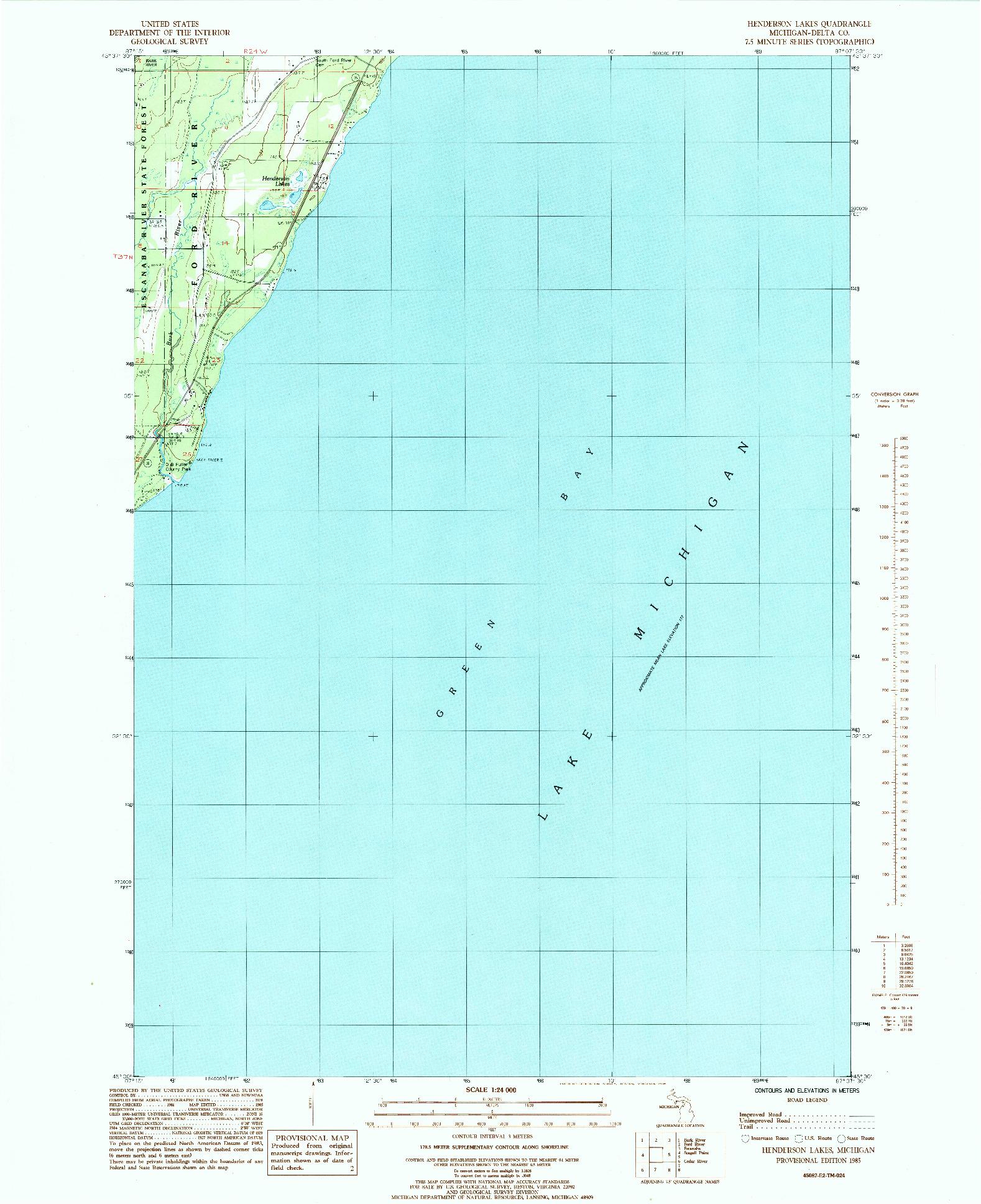 USGS 1:24000-SCALE QUADRANGLE FOR HENDERSON LAKES, MI 1985