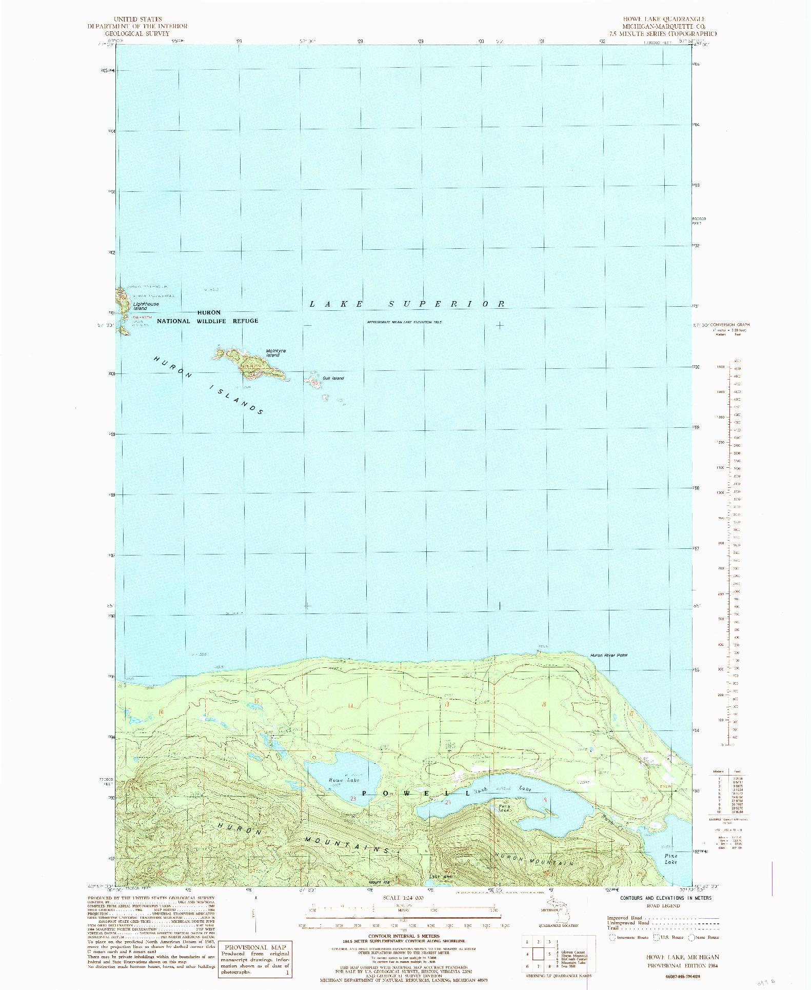 USGS 1:24000-SCALE QUADRANGLE FOR HOWE LAKE, MI 1984