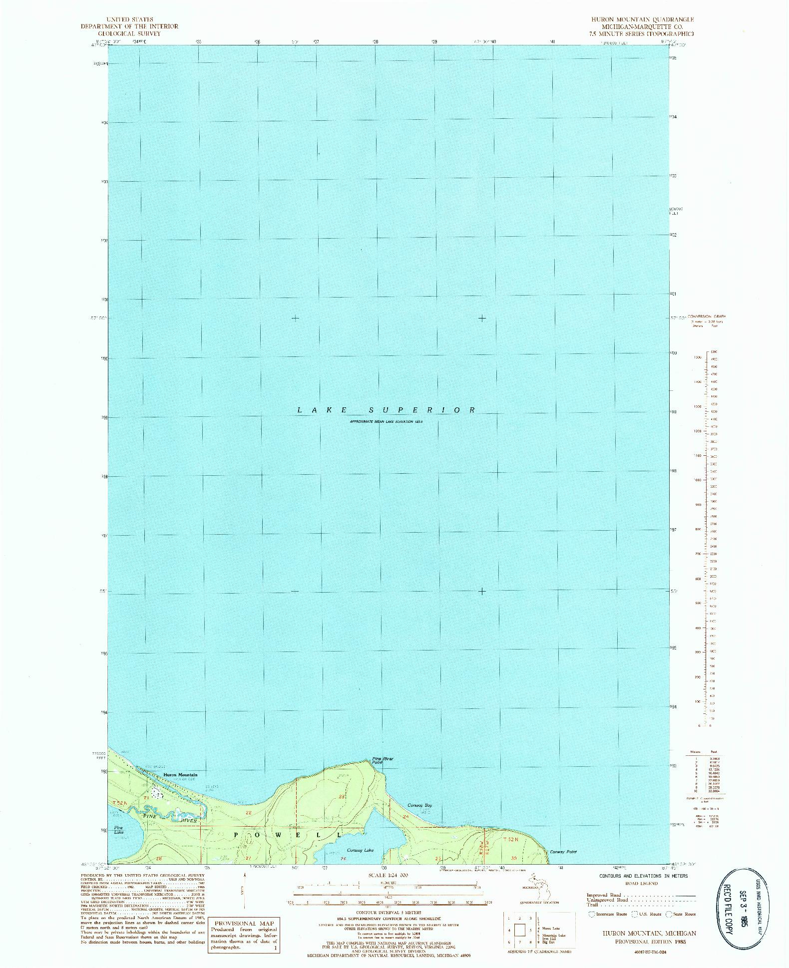USGS 1:24000-SCALE QUADRANGLE FOR HURON MOUNTAIN, MI 1985