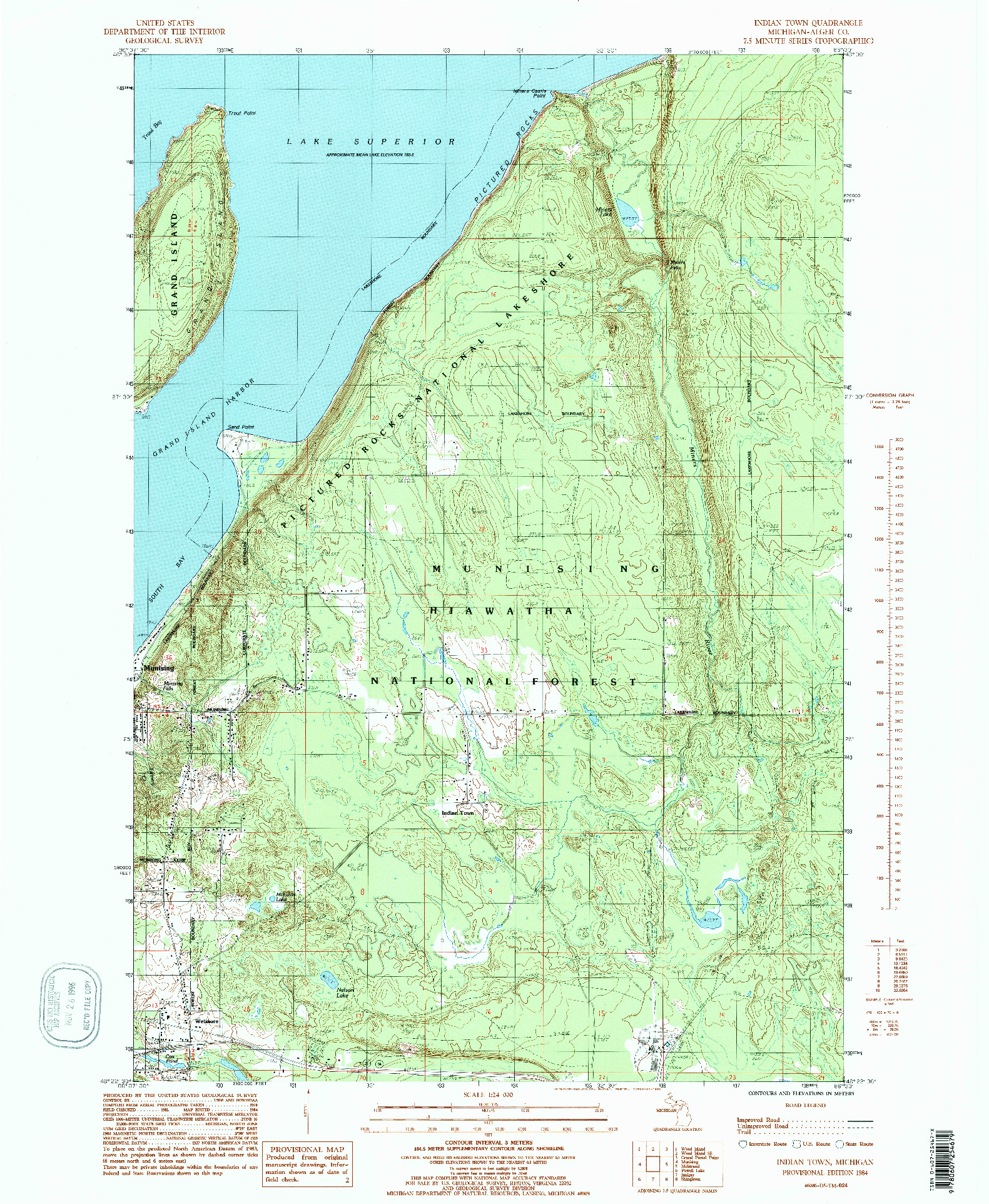USGS 1:24000-SCALE QUADRANGLE FOR INDIAN TOWN, MI 1984