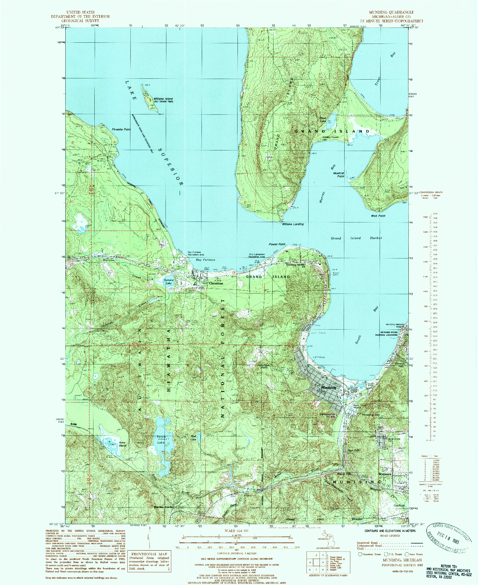 USGS 1:24000-SCALE QUADRANGLE FOR MUNISING, MI 1985