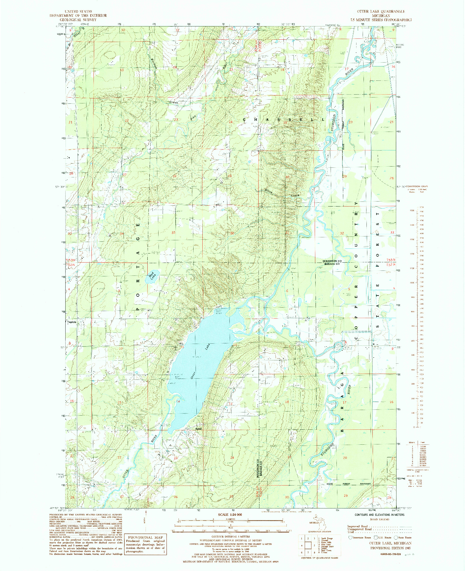 USGS 1:24000-SCALE QUADRANGLE FOR OTTER LAKE, MI 1985