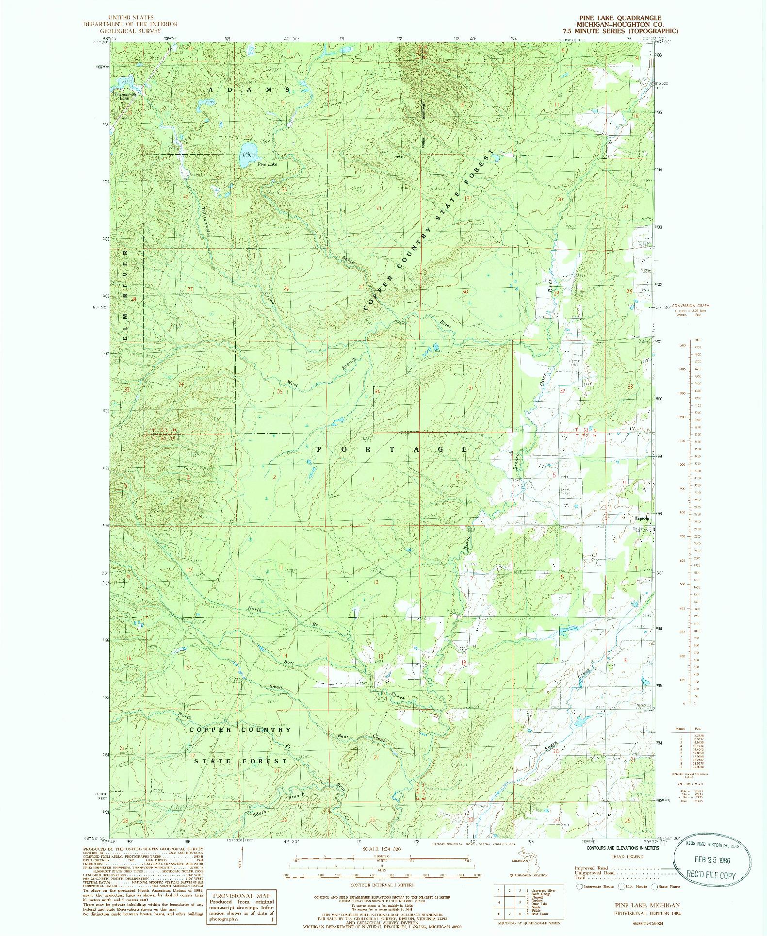 USGS 1:24000-SCALE QUADRANGLE FOR PINE LAKE, MI 1984