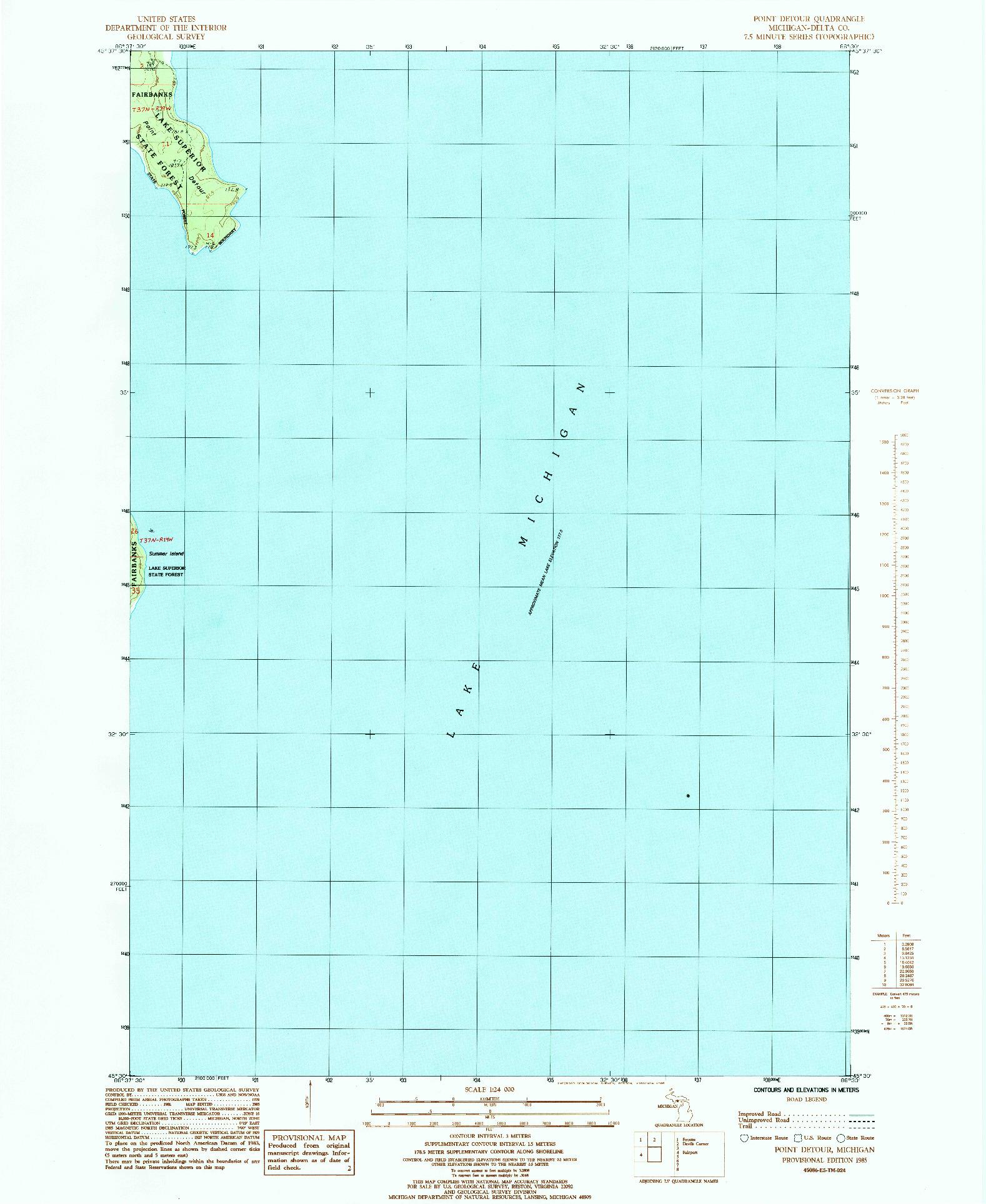 USGS 1:24000-SCALE QUADRANGLE FOR POINT DETOUR, MI 1985
