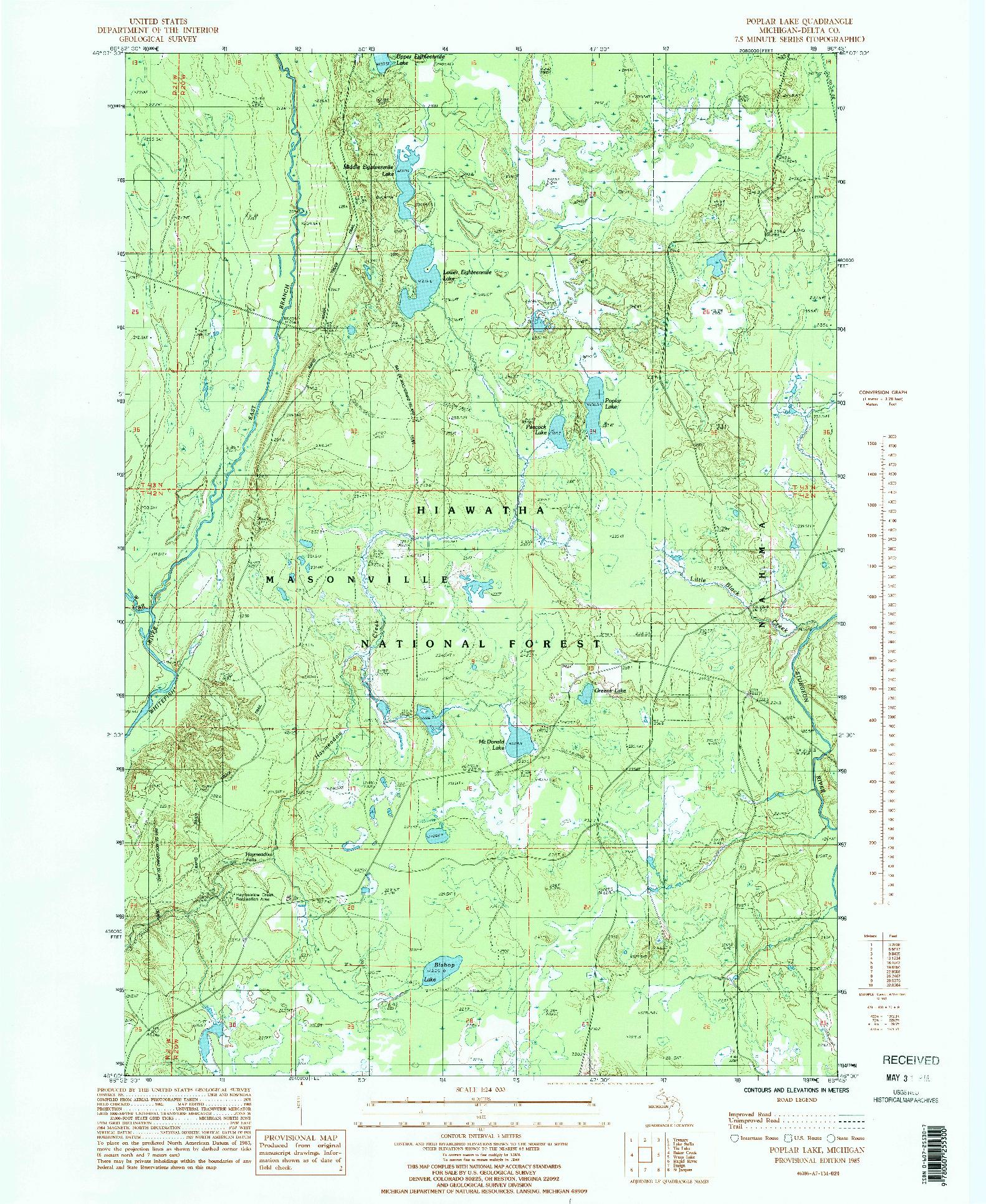 USGS 1:24000-SCALE QUADRANGLE FOR POPLAR LAKE, MI 1985