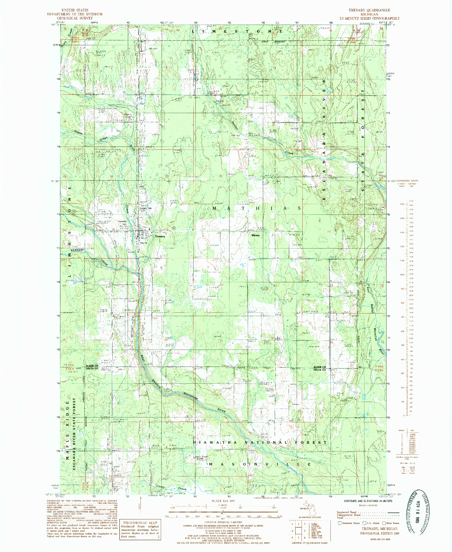 USGS 1:24000-SCALE QUADRANGLE FOR TRENARY, MI 1985