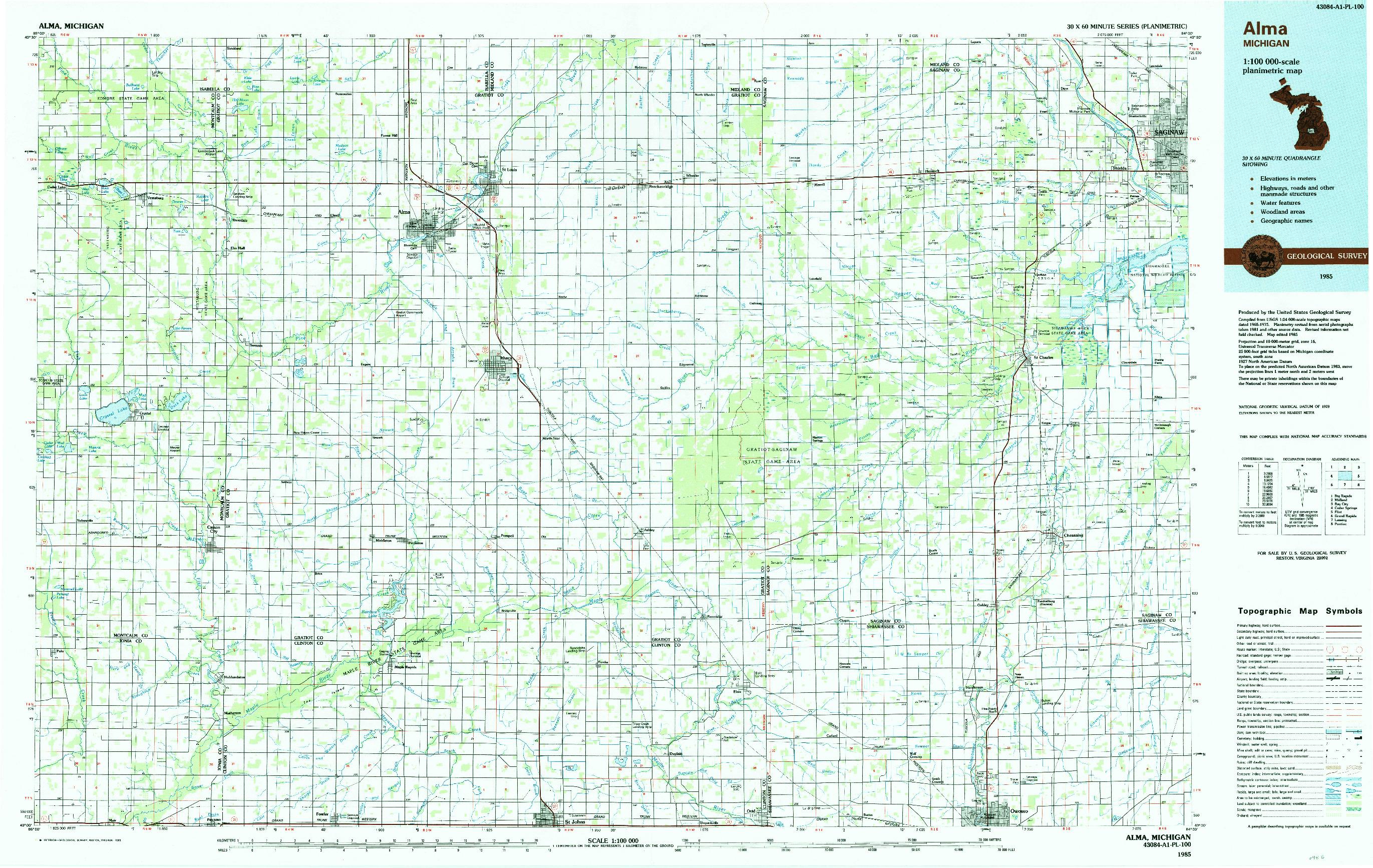 USGS 1:100000-SCALE QUADRANGLE FOR ALMA, MI 1985