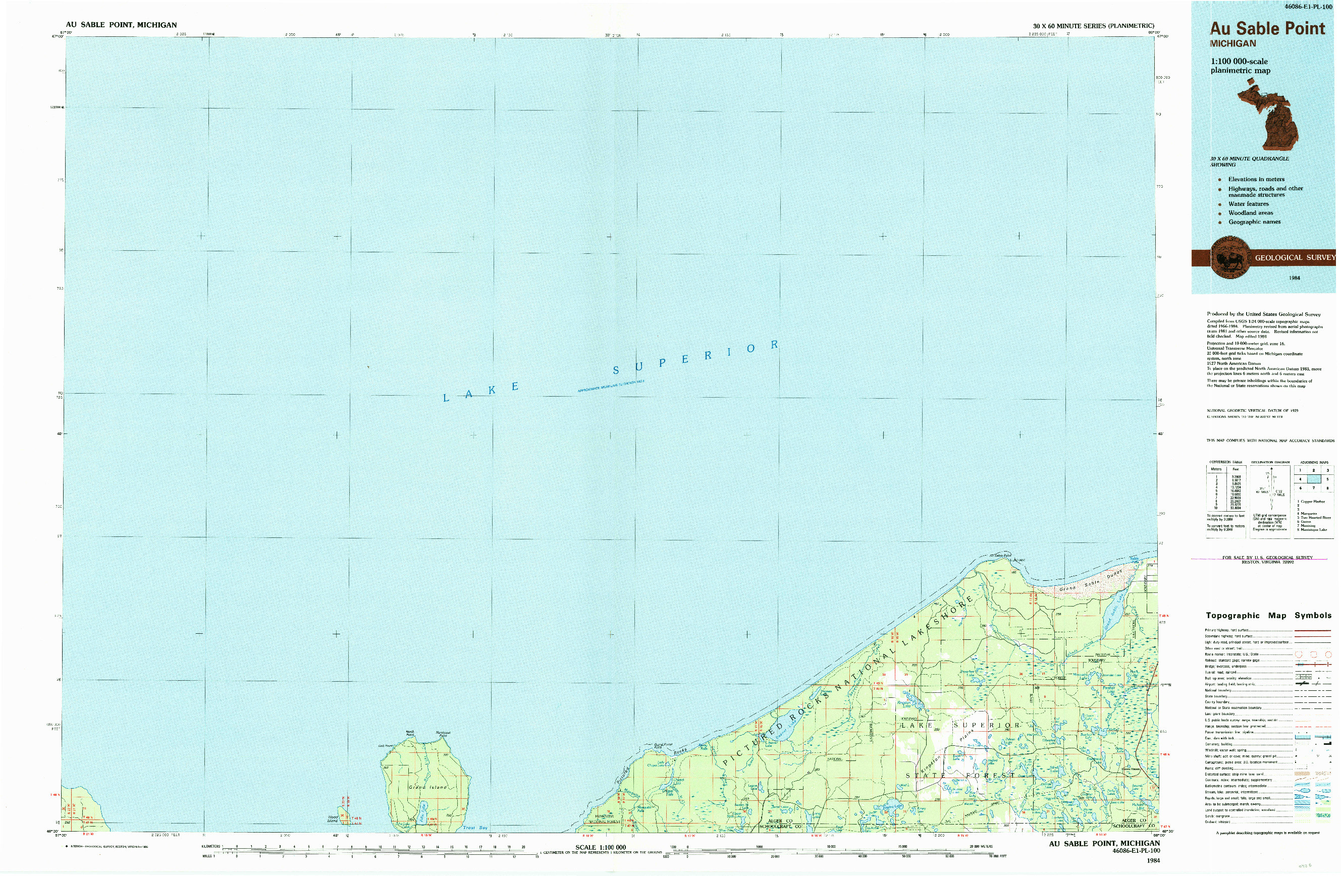 USGS 1:100000-SCALE QUADRANGLE FOR AU SABLE POINT, MI 1984