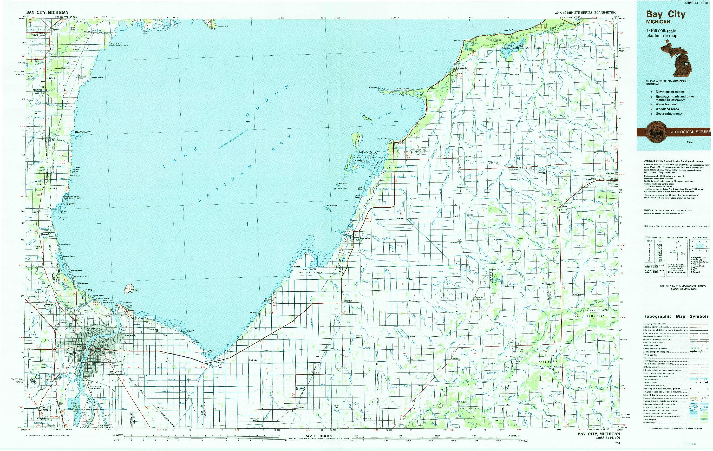 USGS 1:100000-SCALE QUADRANGLE FOR BAY CITY, MI 1984