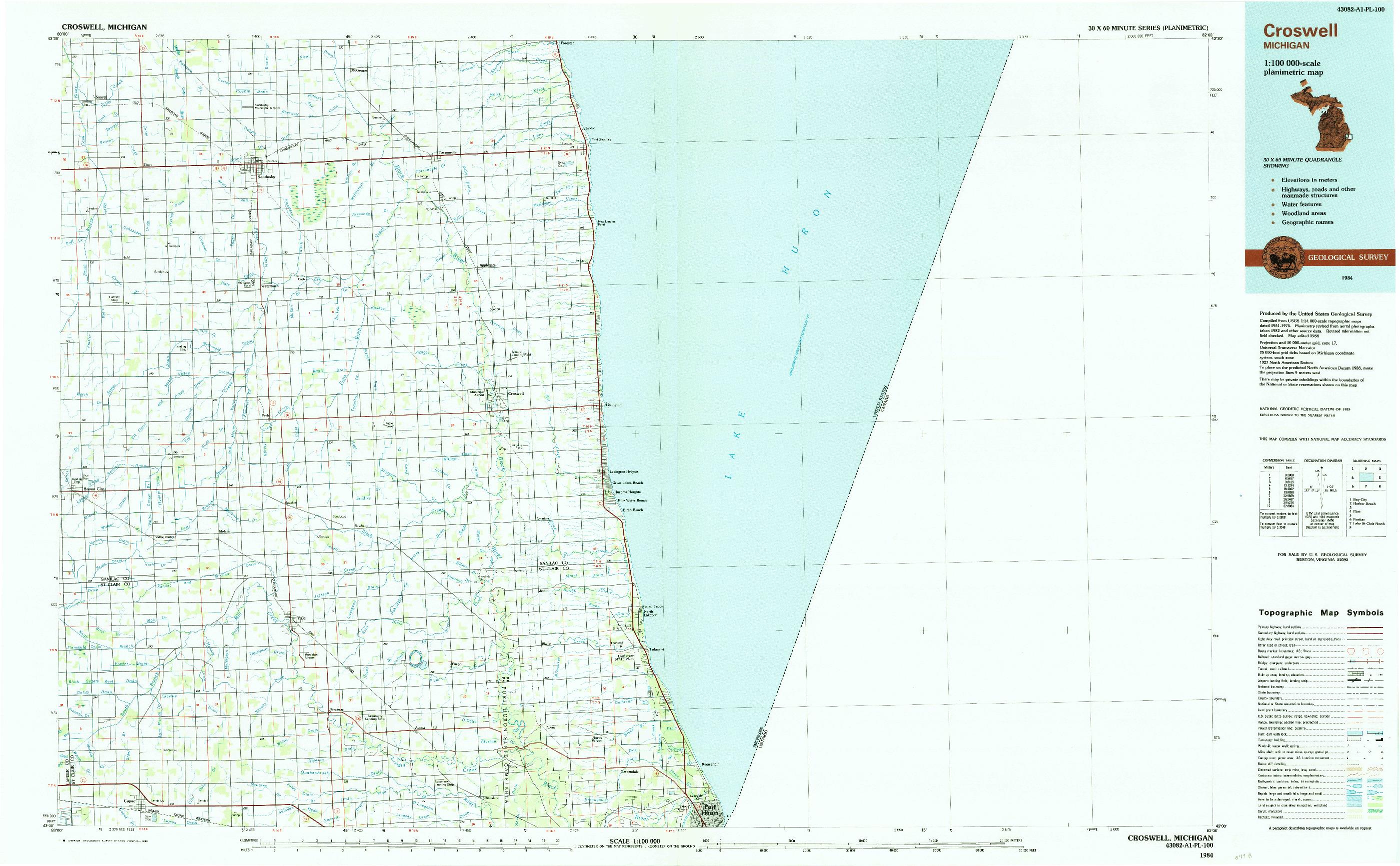 USGS 1:100000-SCALE QUADRANGLE FOR CROSWELL, MI 1984