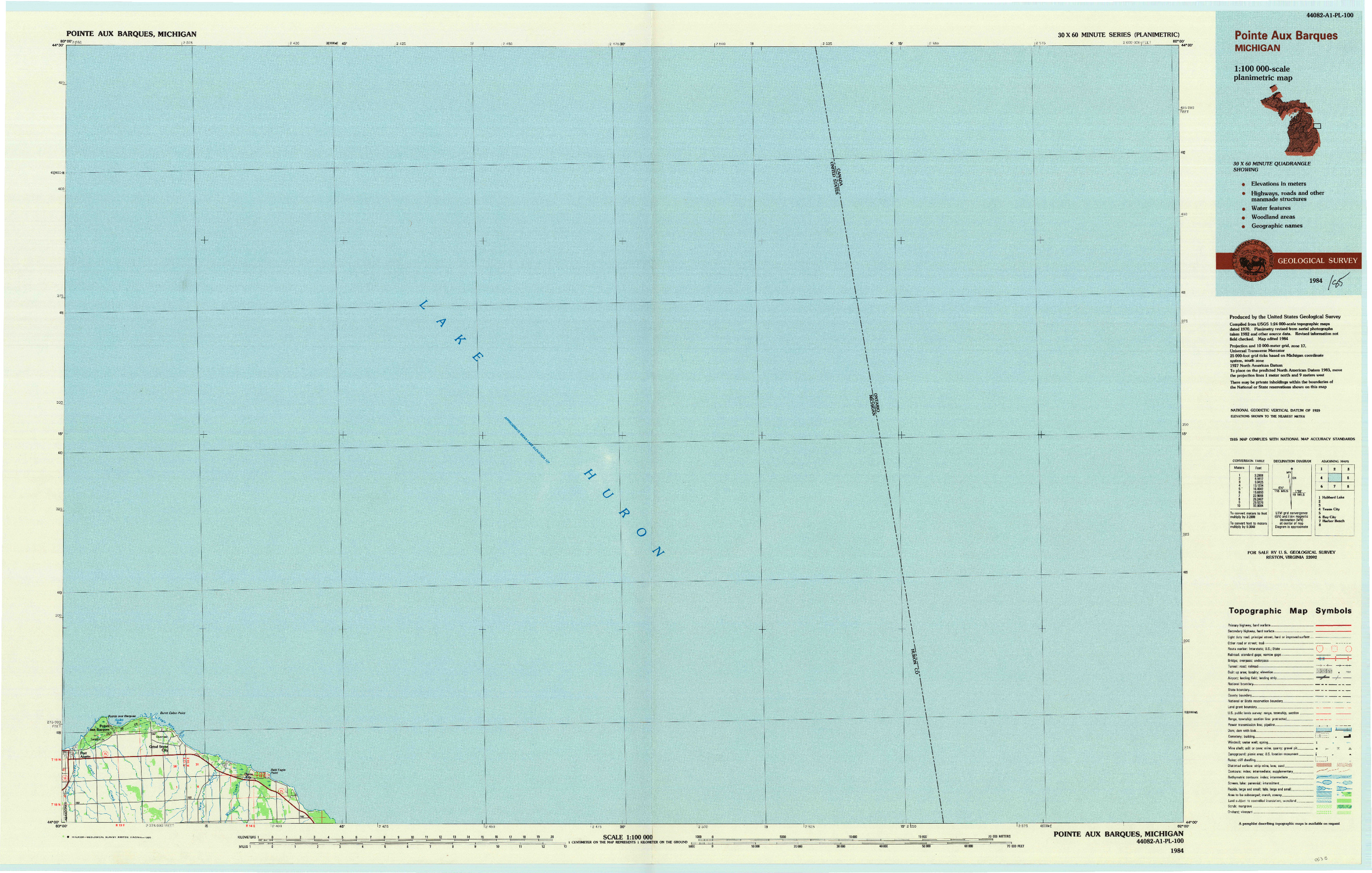 USGS 1:100000-SCALE QUADRANGLE FOR POINTE AUX BARQUES, MI 1984