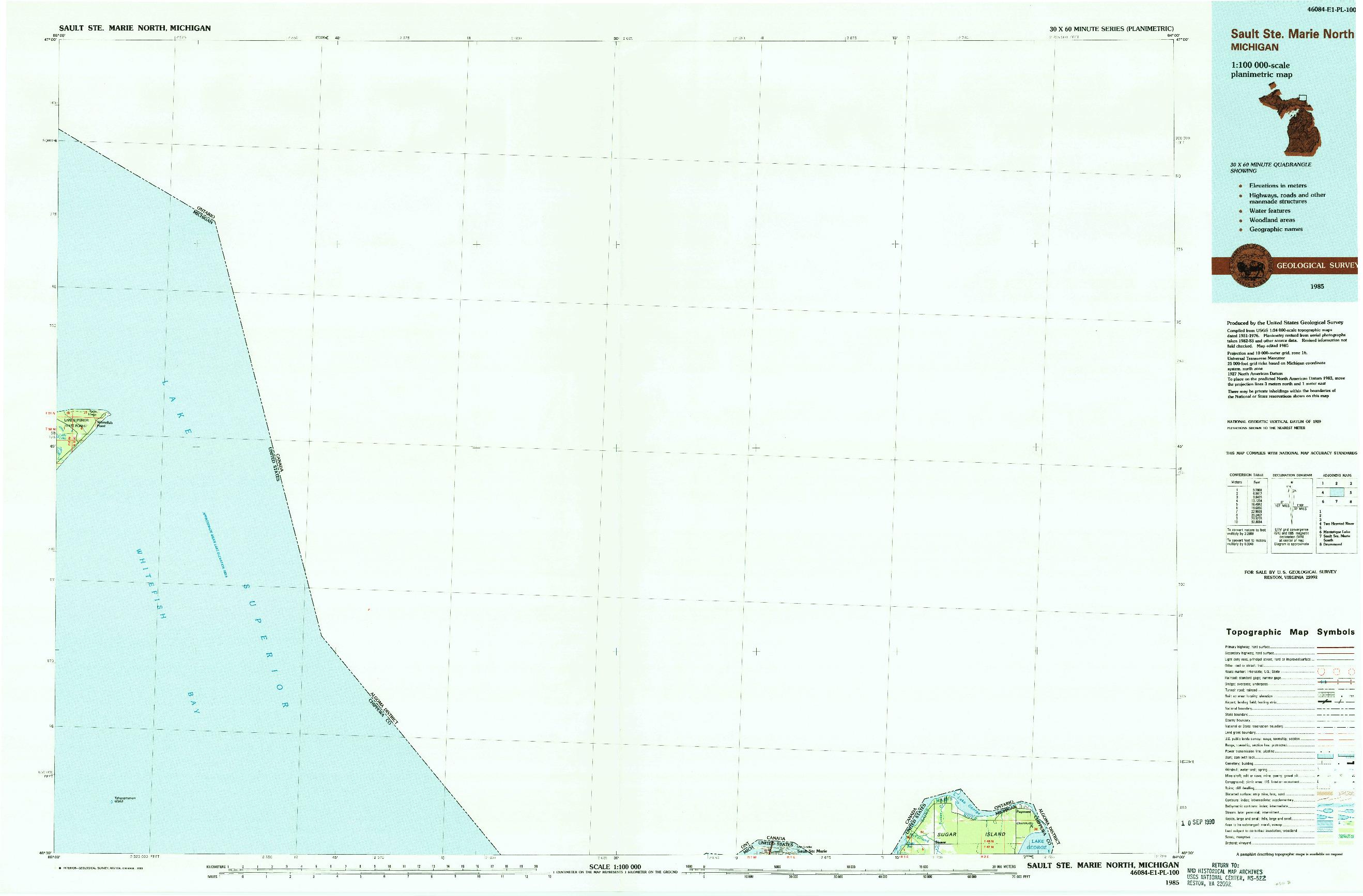 USGS 1:100000-SCALE QUADRANGLE FOR SAULT STE. MARIE NORTH, MI 1985