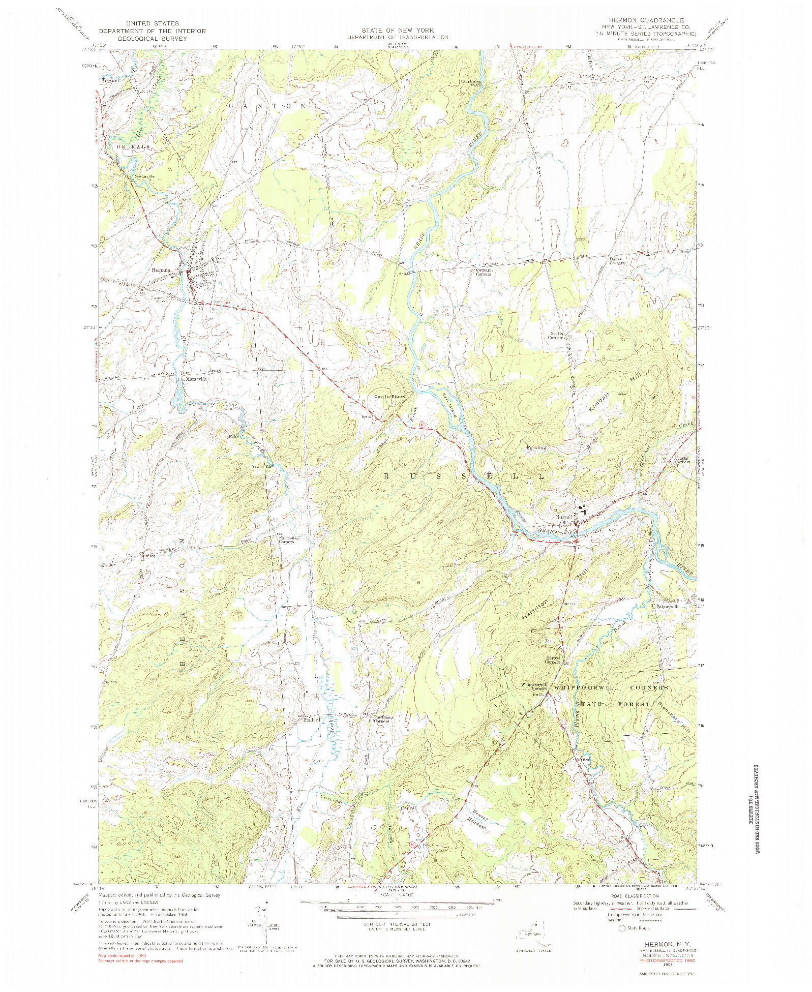 USGS 1:24000-SCALE QUADRANGLE FOR HERMON, NY 1966