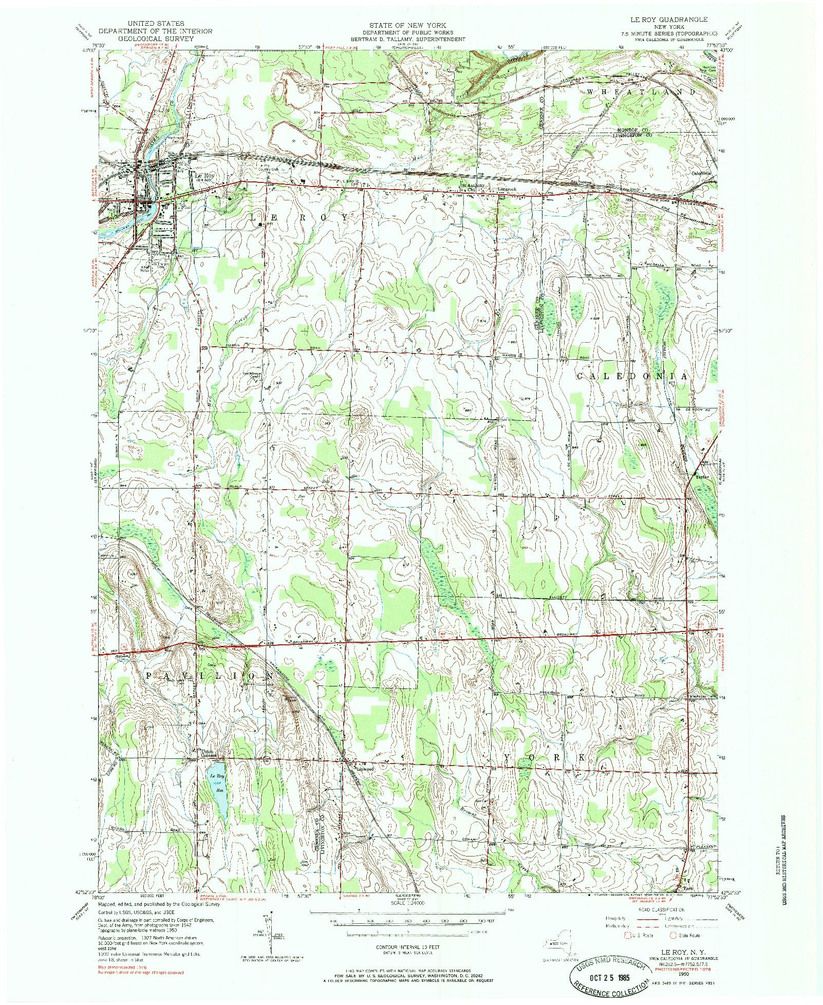 USGS 1:24000-SCALE QUADRANGLE FOR LE ROY, NY 1950
