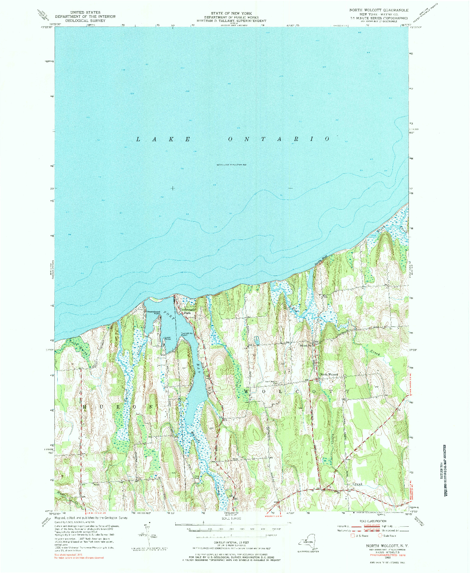 USGS 1:24000-SCALE QUADRANGLE FOR NORTH WOLCOTT, NY 1953