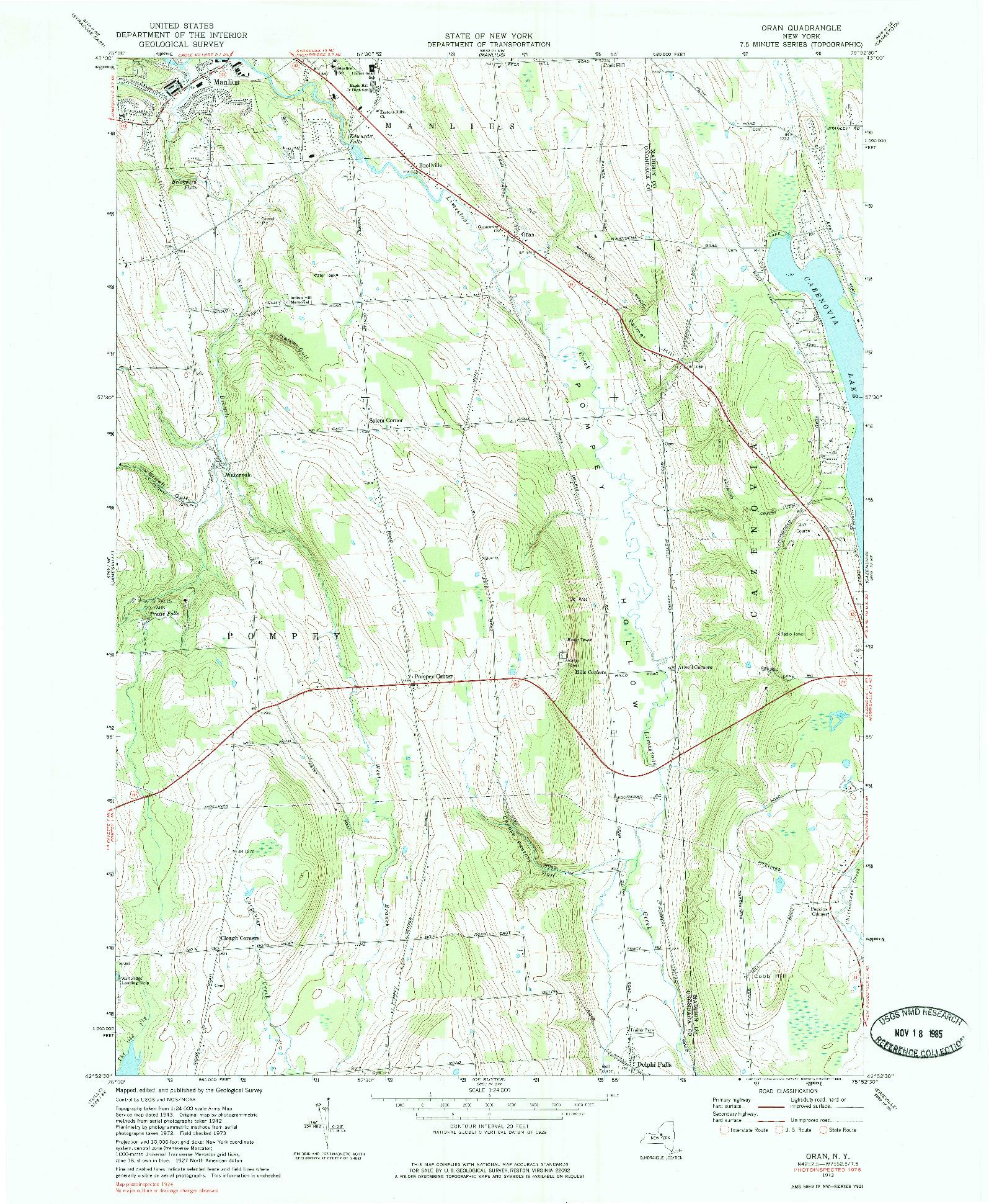 USGS 1:24000-SCALE QUADRANGLE FOR ORAN, NY 1973