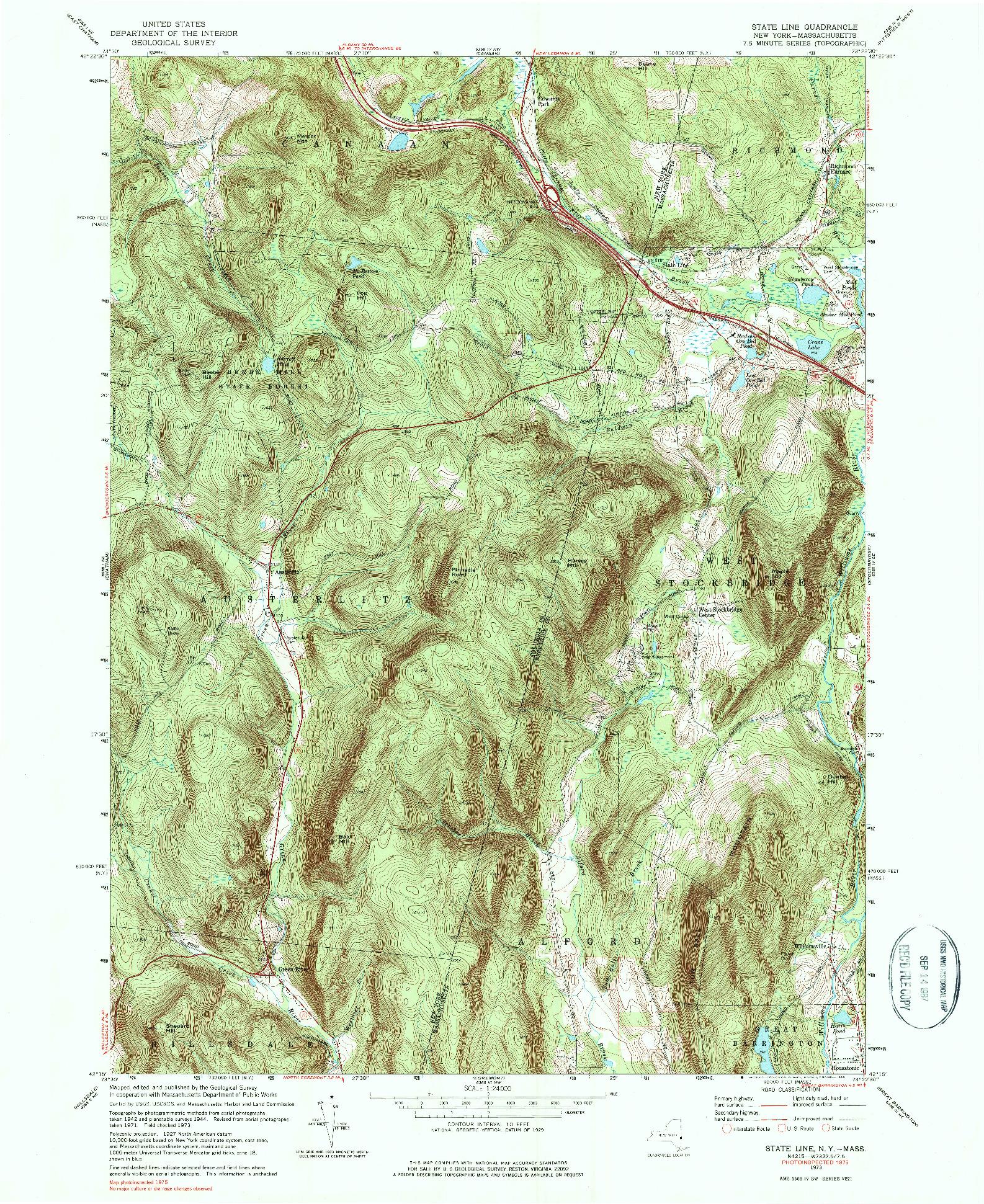 USGS 1:24000-SCALE QUADRANGLE FOR STATE LINE, NY 1973