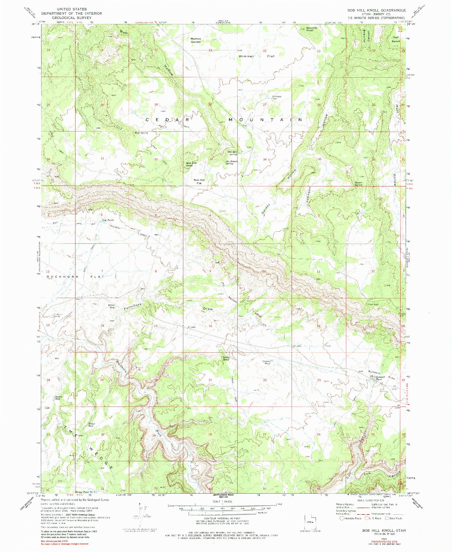 USGS 1:24000-SCALE QUADRANGLE FOR BOB HILL KNOLL, UT 1969