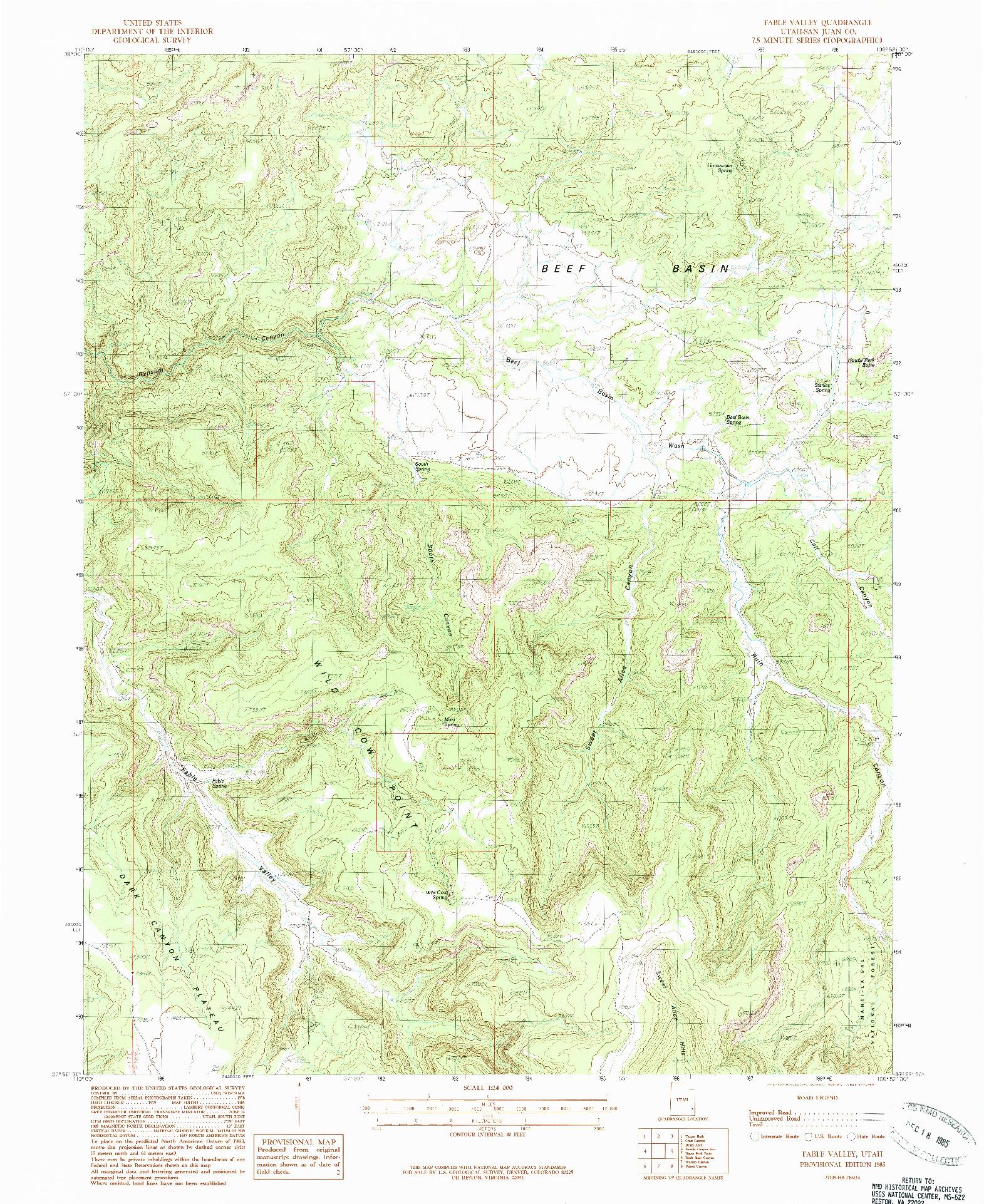 USGS 1:24000-SCALE QUADRANGLE FOR FABLE VALLEY, UT 1985