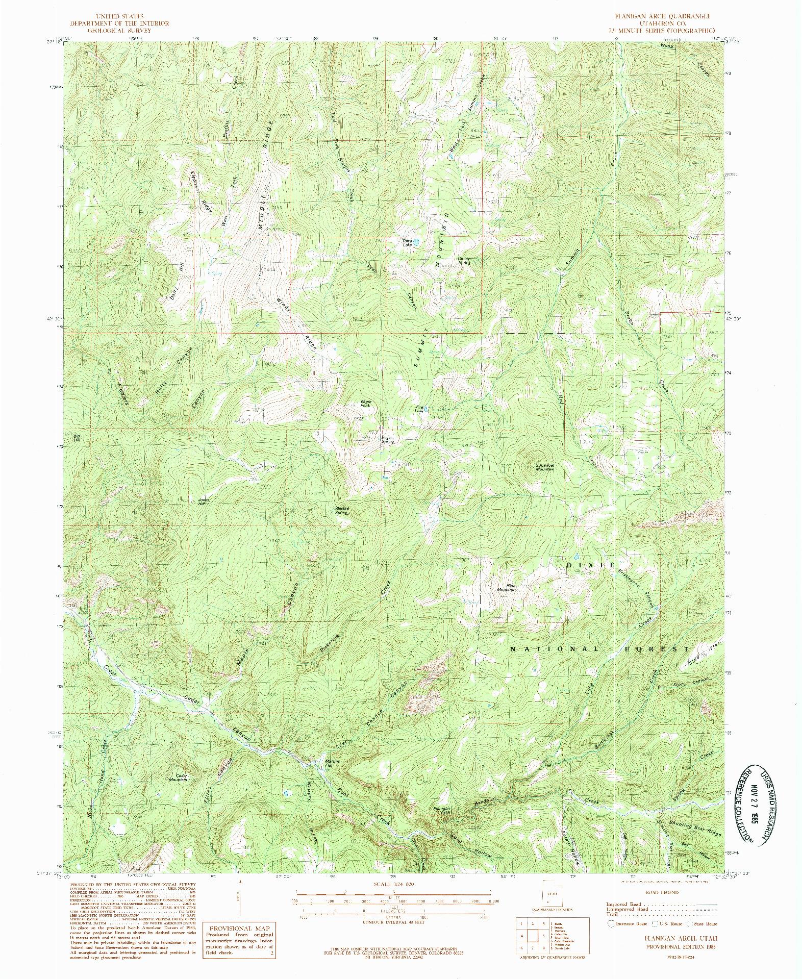 USGS 1:24000-SCALE QUADRANGLE FOR FLANIGAN ARCH, UT 1985