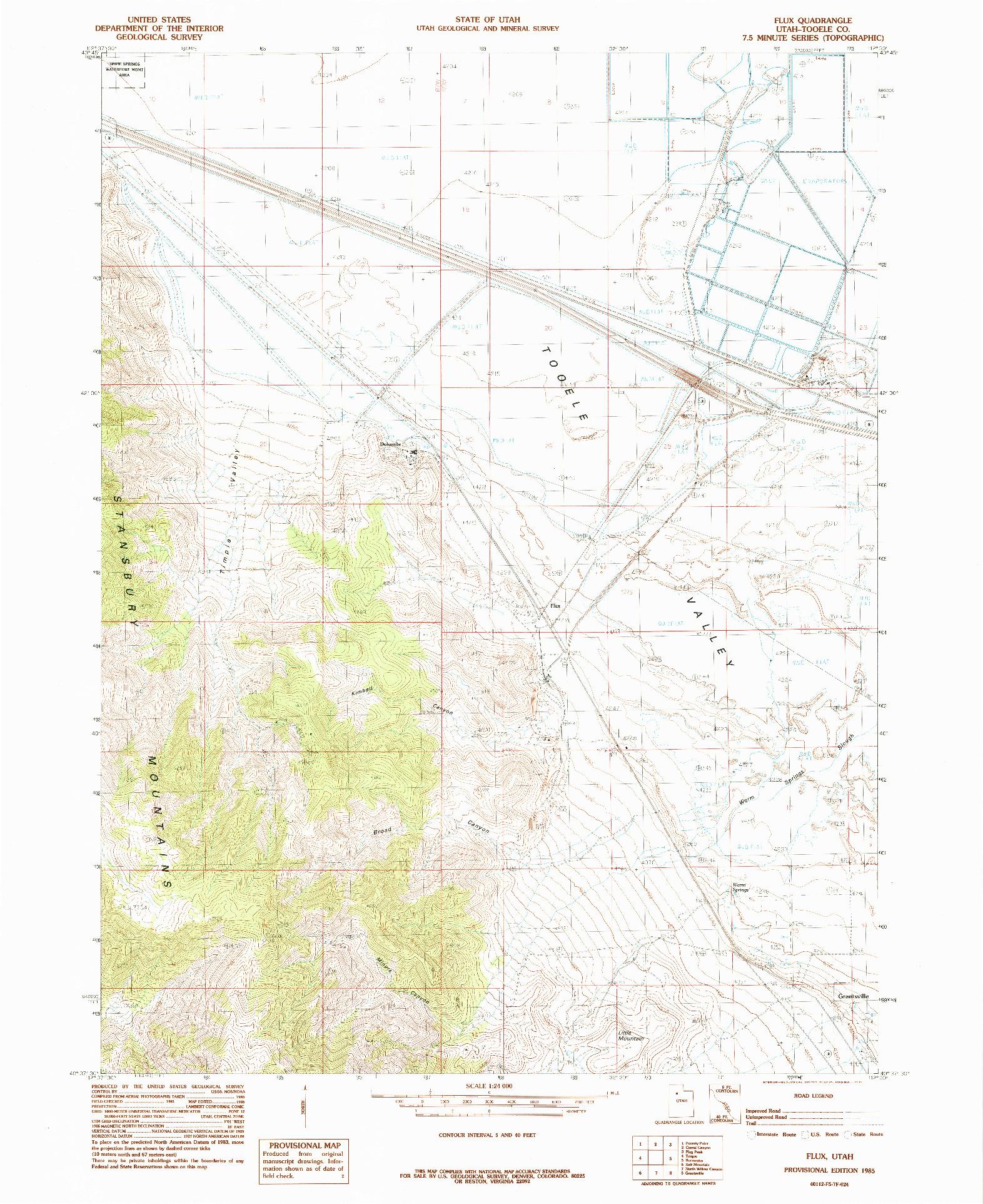 USGS 1:24000-SCALE QUADRANGLE FOR FLUX, UT 1985