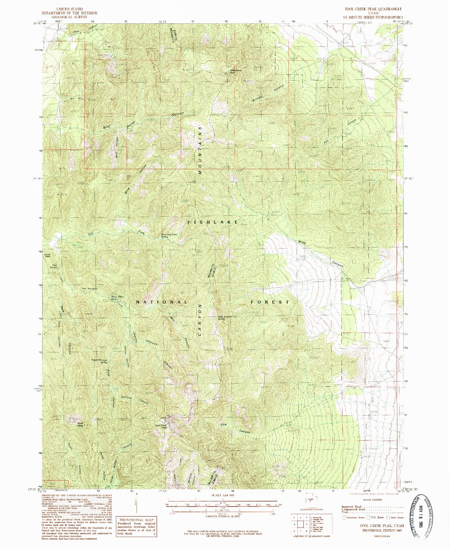 USGS 1:24000-SCALE QUADRANGLE FOR FOOL CREEK PEAK, UT 1985