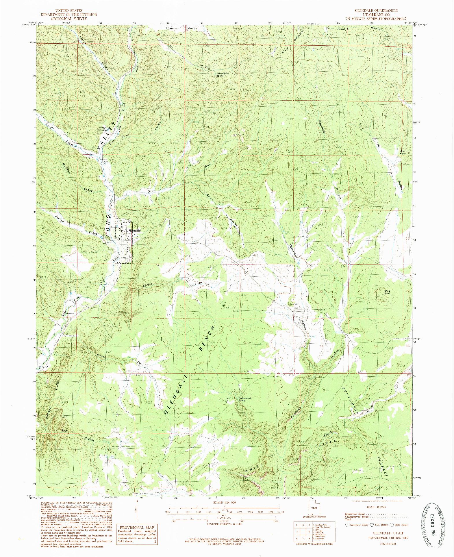 USGS 1:24000-SCALE QUADRANGLE FOR GLENDALE, UT 1985