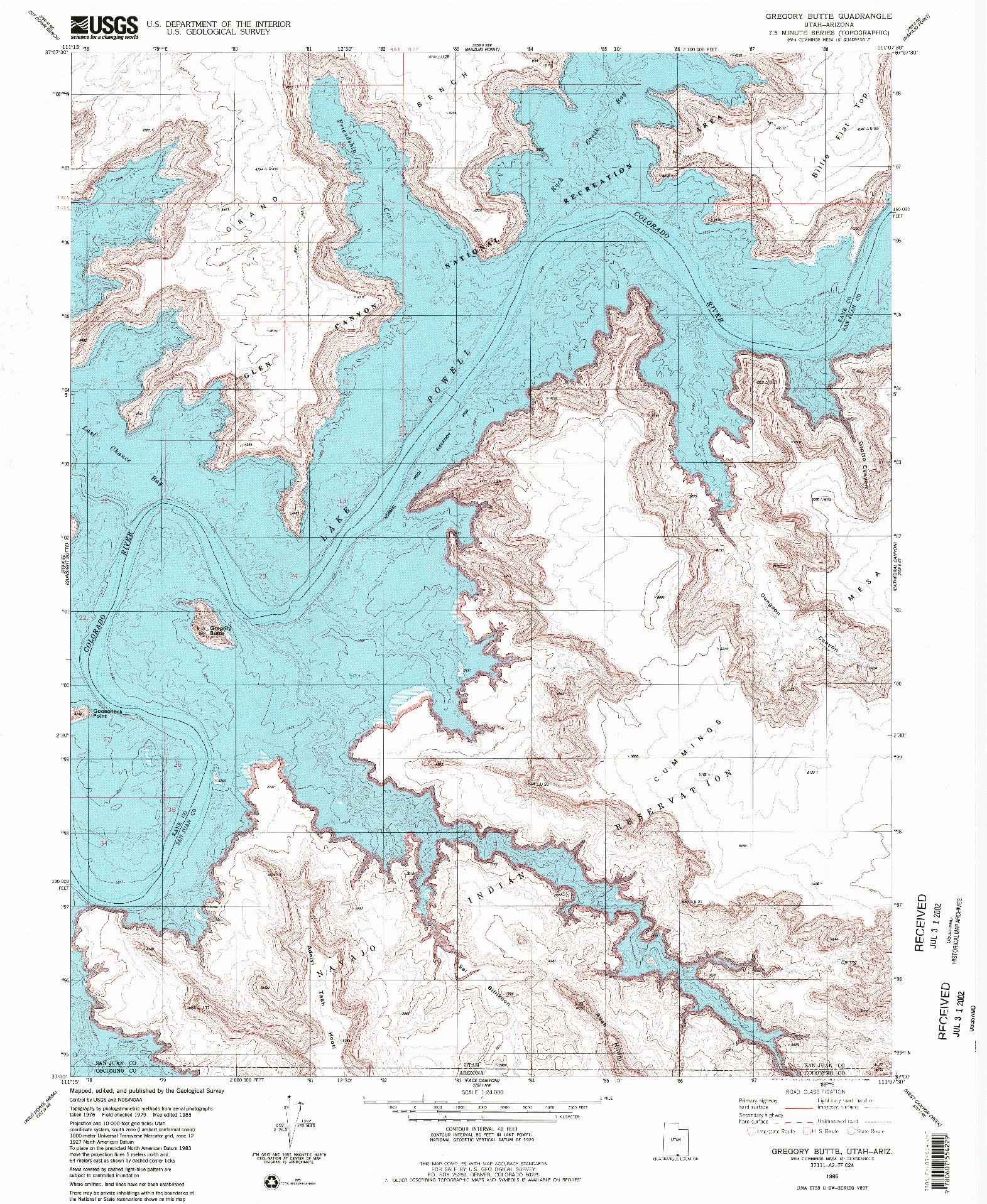 USGS 1:24000-SCALE QUADRANGLE FOR GREGORY BUTTE, UT 1985