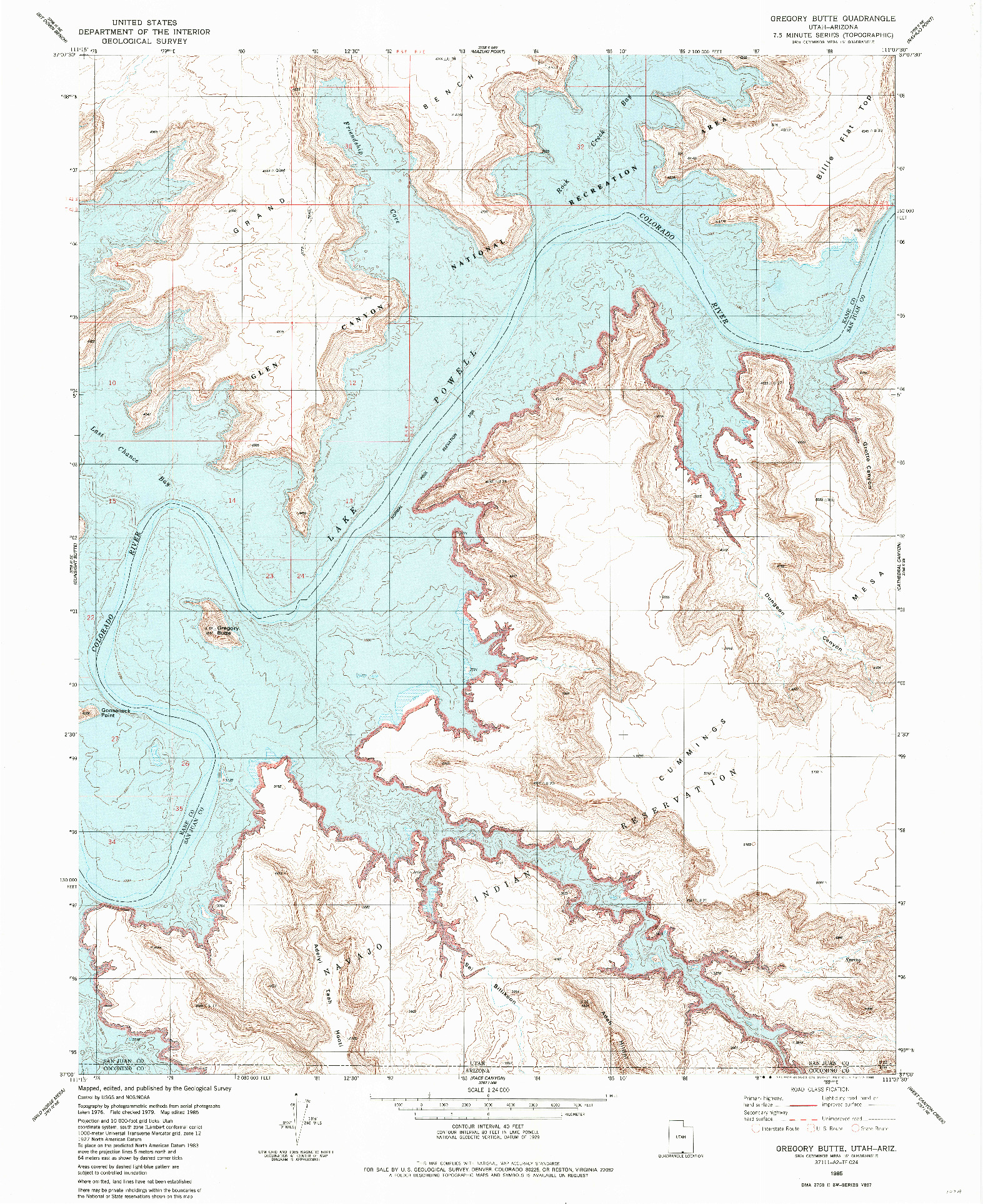 USGS 1:24000-SCALE QUADRANGLE FOR GREGORY BUTTE, UT 1985