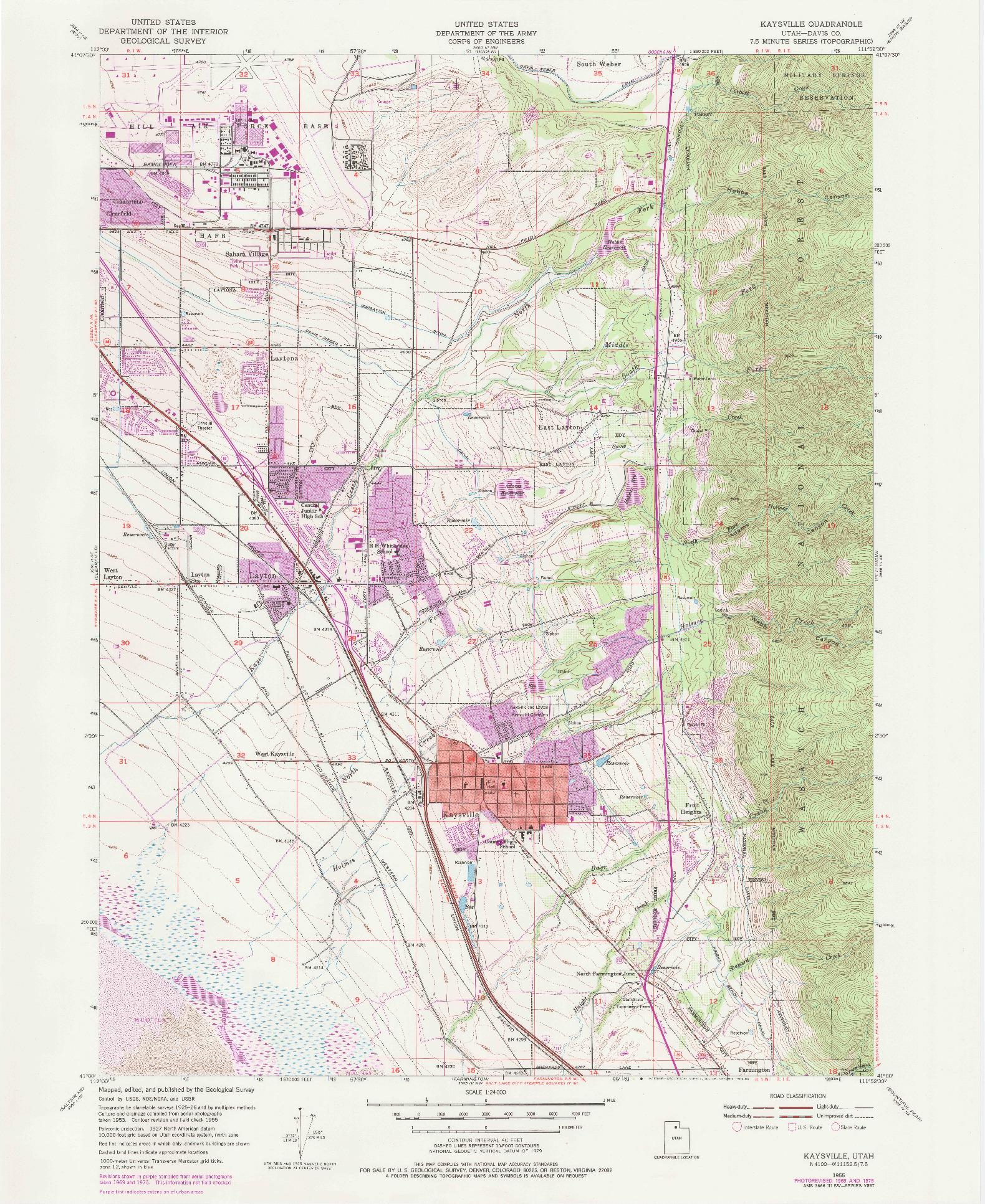 USGS 1:24000-SCALE QUADRANGLE FOR KAYSVILLE, UT 1955
