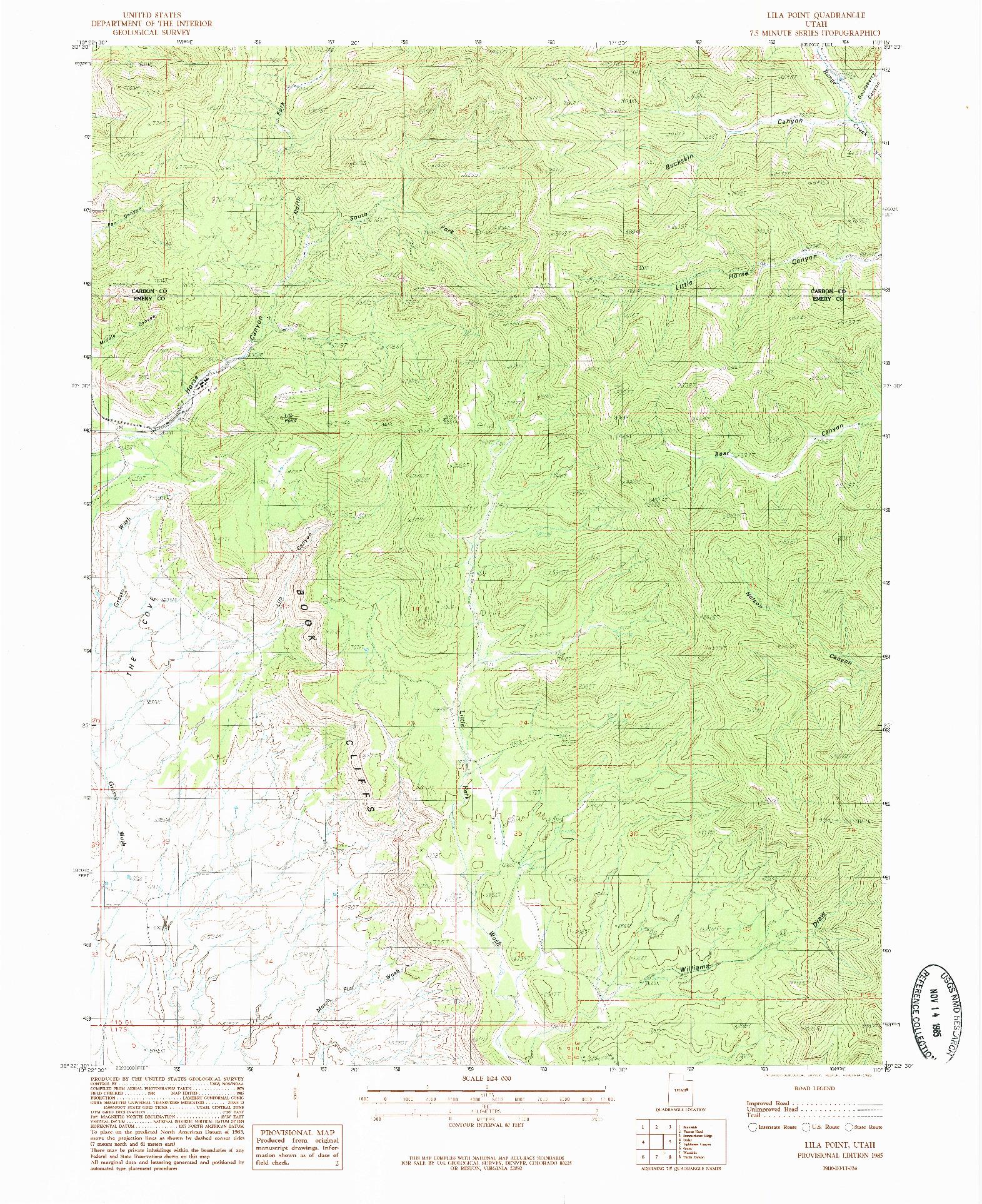 USGS 1:24000-SCALE QUADRANGLE FOR LILA POINT, UT 1985